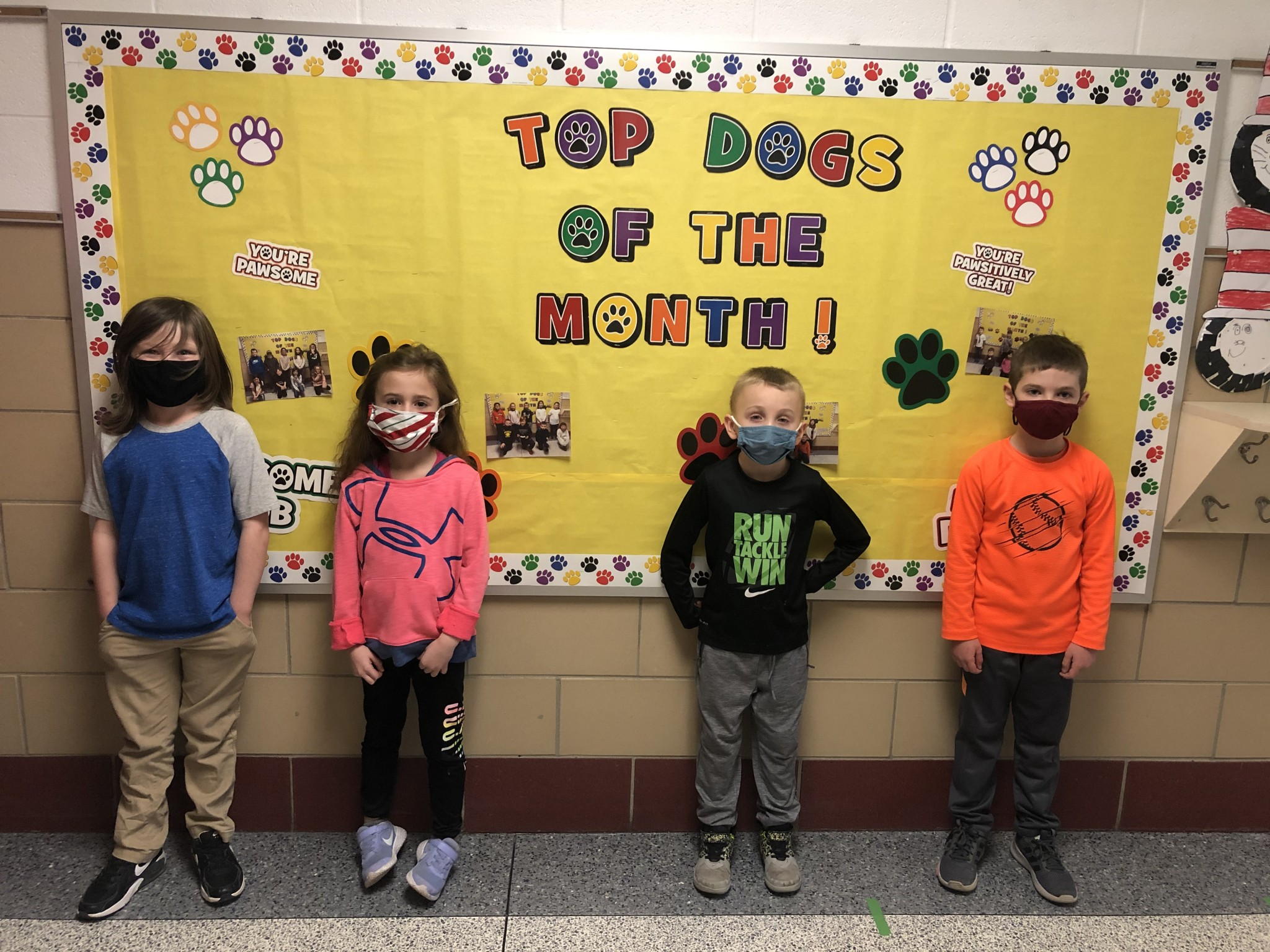 R.C. Waters first-grade top Class Dojo winners for the month of February include (left to right) Tommy Wallace, Ana Sigurdson, Braxtyn Bauer, and Drew Boss, (not pictured: Adalynn Mitchell). (Submitted photo)