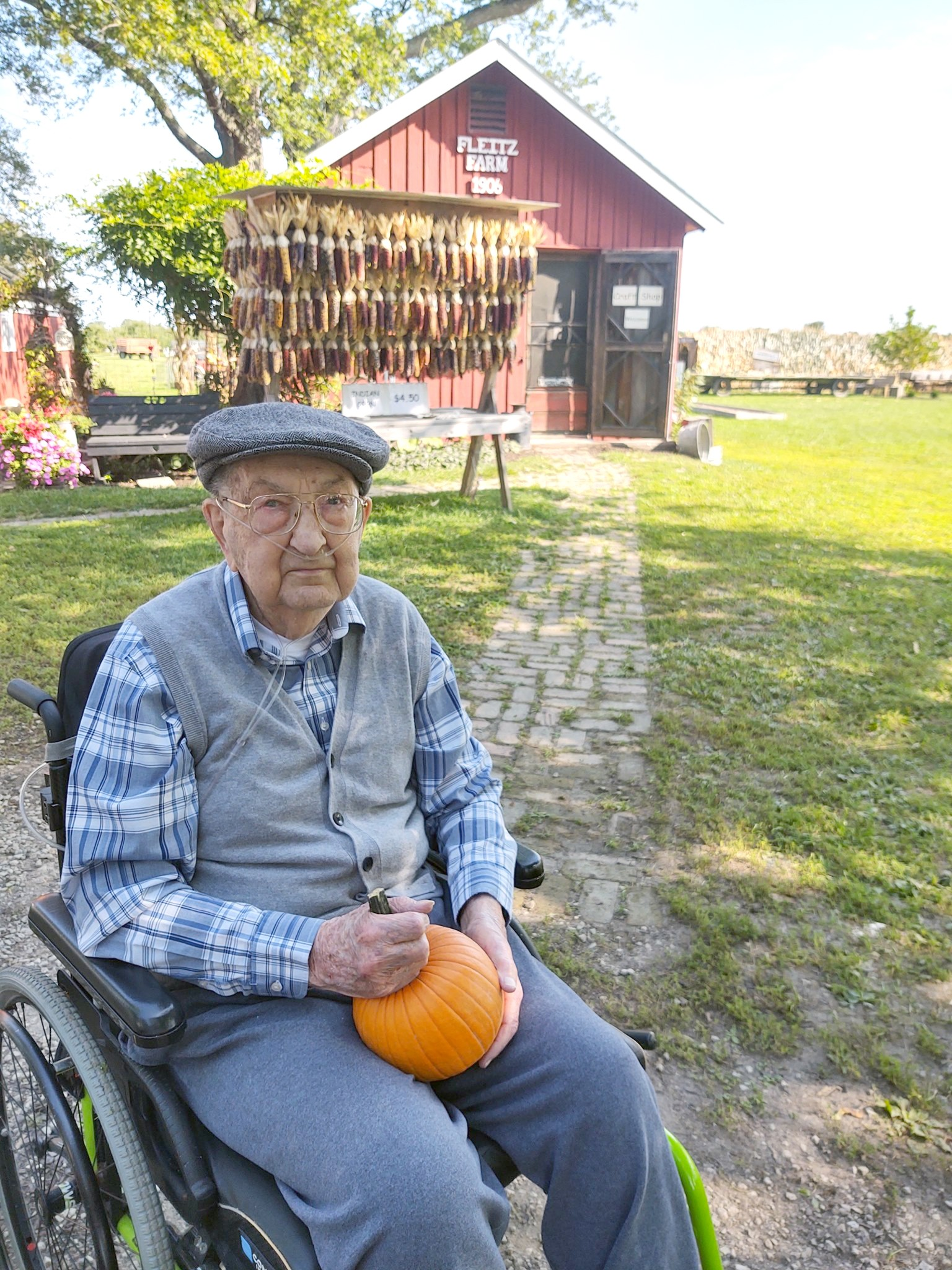 Bert Fleitz, a resident at Genoa Retirement Village, recently enjoyed a trip to the family farm, where he visited with several members of his extended family. The trip was part of Trilogy Foundation's Live a Dream program. (Submitted photo)