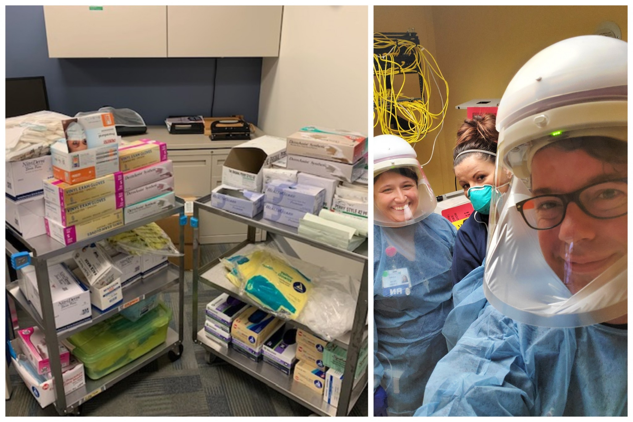 Left: PPE donations to ProMedica Memorial Hospital from the Allied Health, Nursing and Science (AHNS) division. Right: Nursing instructor Ryan Heichel (front) volunteering with others on the COVID-19 unit at Firelands Regional Medical Center. (Submitted photo)