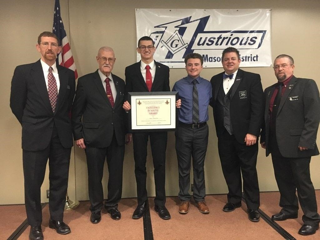 On April 6, Eastwood 2018 graduate Mason Franz and Eastwood senior David Deniston were honored by the 11th District of the Free and Accepted Masons of Ohio. Shown are Brian Myers, Tom Cavendish, Deniston, Franz, Jess N. Raines and John Cavendish. (Submitted photo)