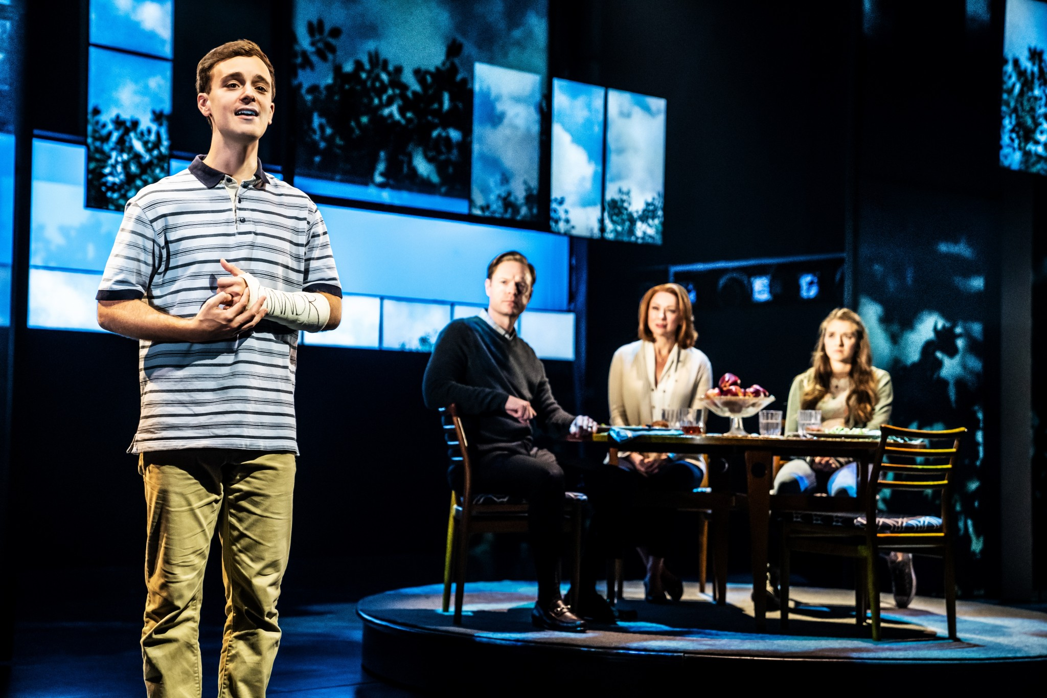 "Stephen Christopher Anthony as ""Evan Hansen"" and the North American Touring Company of Dear Evan Hansen."" (Photo by Matthew Murphy)"