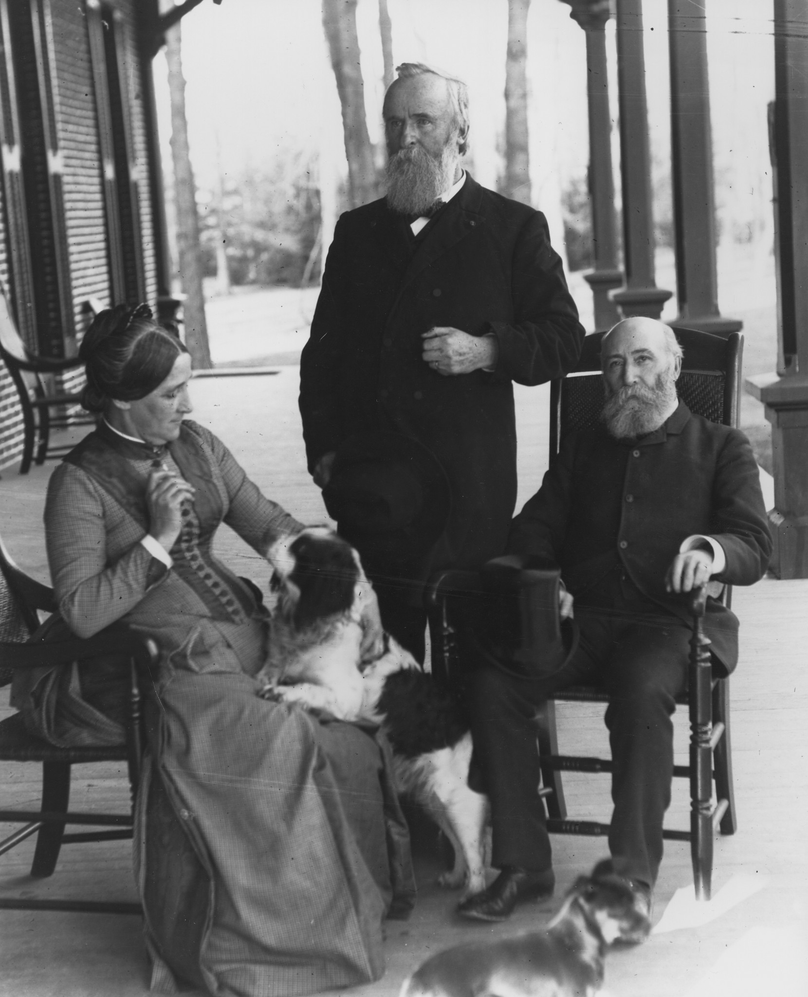 First Lady Lucy Hayes and President Rutherford B. Hayes, (center), sit with friend William Henry Smith, (right), on the verandah of the Hayes Home. Smith was the editor of the Western Associated Press. (Submitted photo)