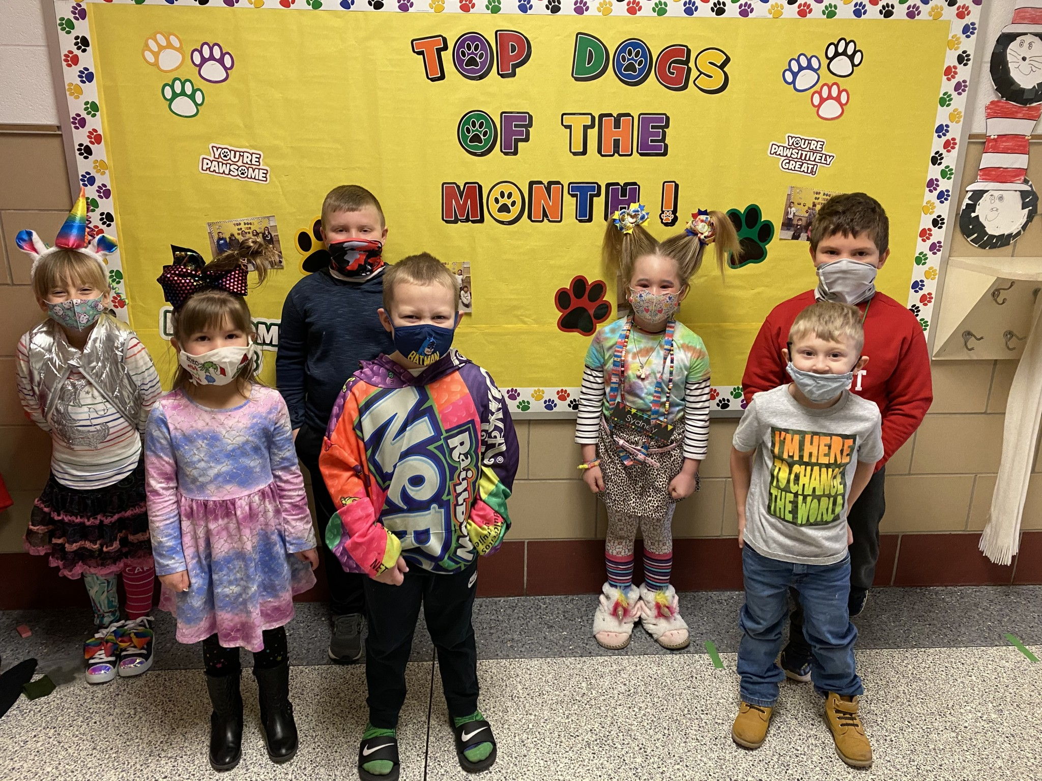 R.C. Waters kindergarten top Class Dojo winners for the month of February include (back left to right) Cara Rollheiser, Jack Behnke, Sydney Tymiak, and Grant Leist; (front left to right) Makayla Forshey, Cylus Kitchin, and Gabe Rook. (Submitted photo)