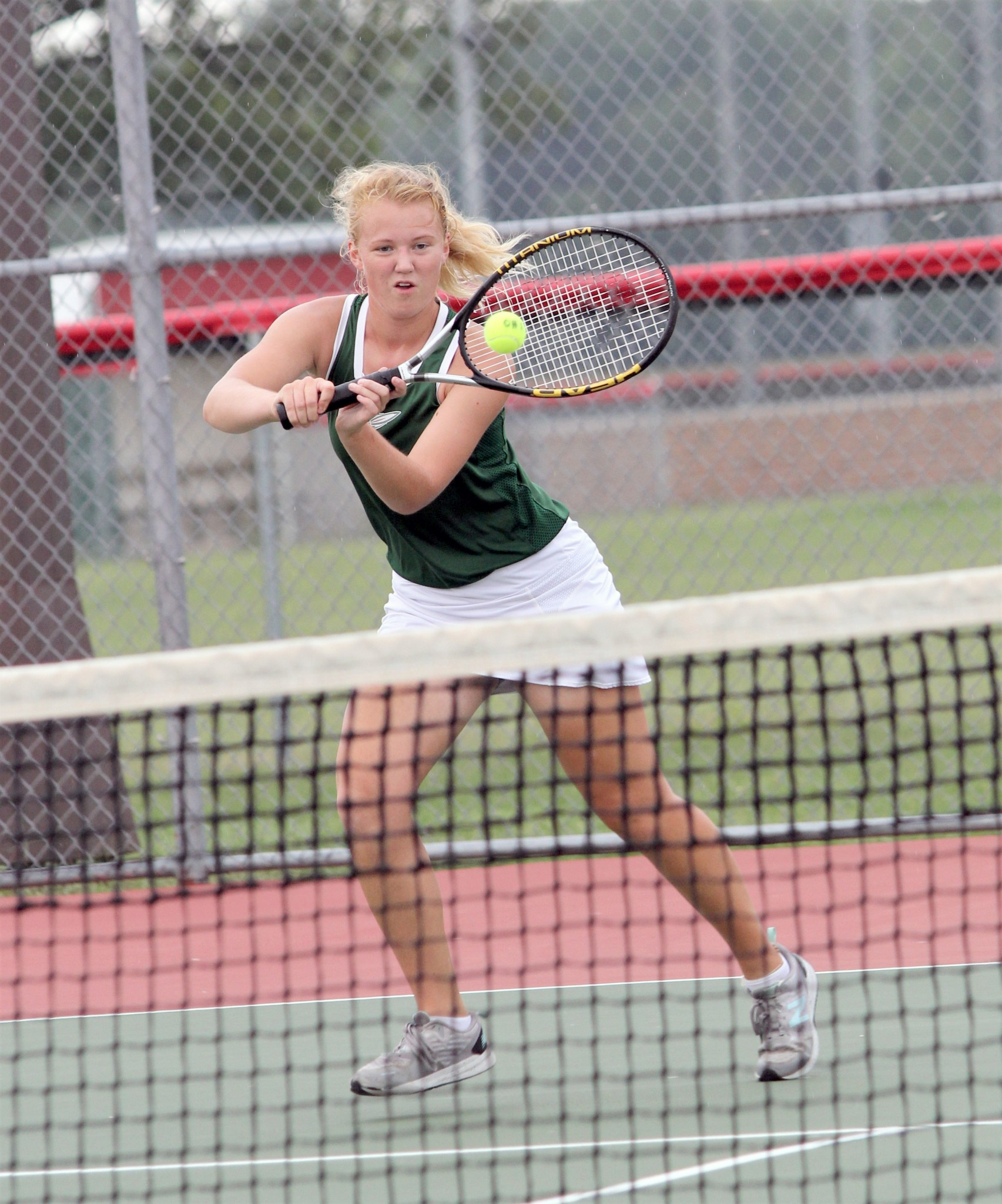 Oak Harbor first singles tennis player Grace Johnson was seeded fourth at the sectional tournament. (Photo by Laura Bolander)
