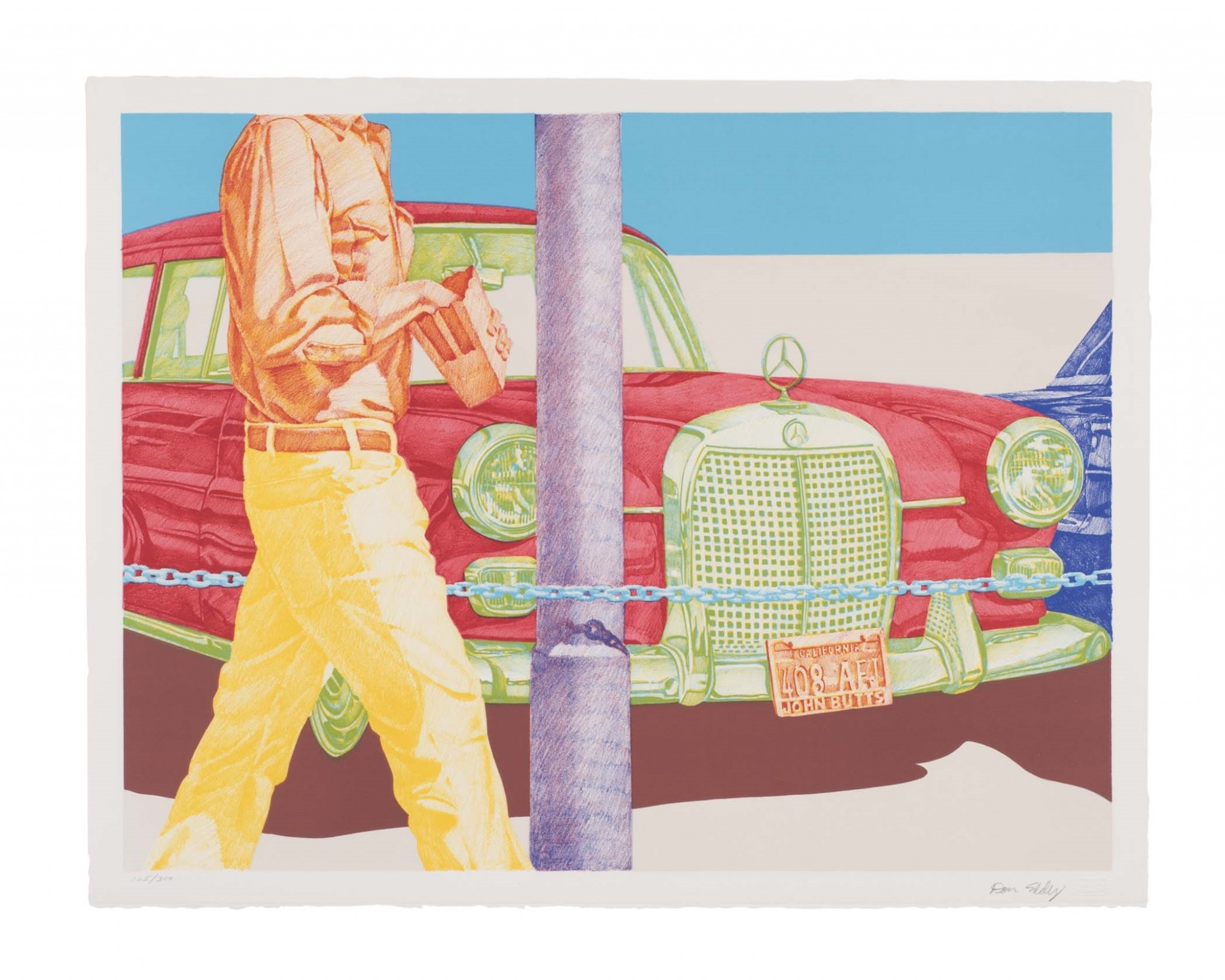 """Don Eddy's color lithograph, """"Red Mercedes"""" is among the works featured in the Toledo Museum of Art exhibition, """"Life Is a Highway: Art and American Car Culture,"""" which closes Sept. 15. (Image credit: Christopher Ridgway)"""