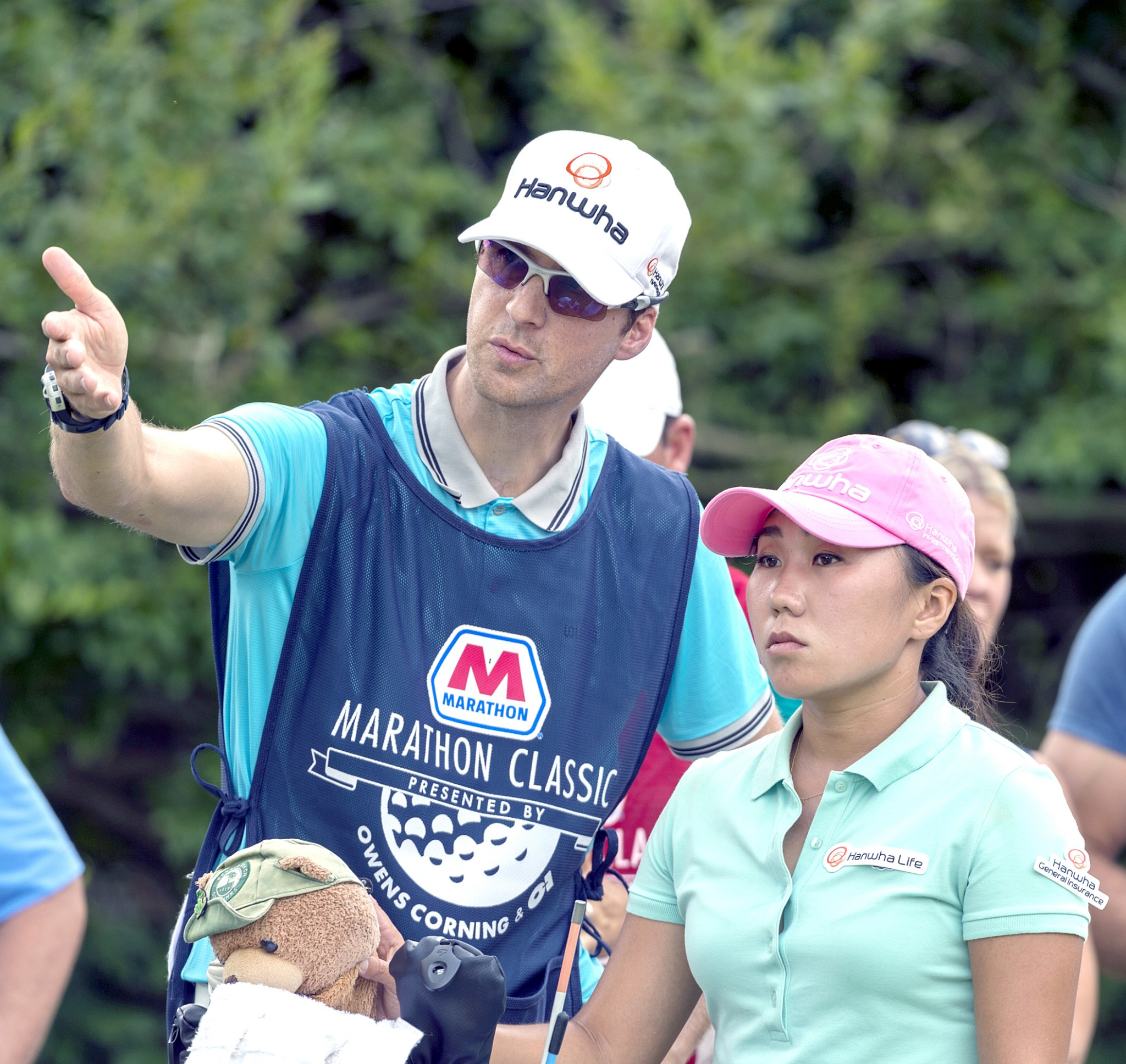 LPGA golfer Ju Kyung Kim confers with her caddie during the Marathon Classic at Sylvania's Highland Meadows Golf Course. (Photo courtesy Marathon Classic)