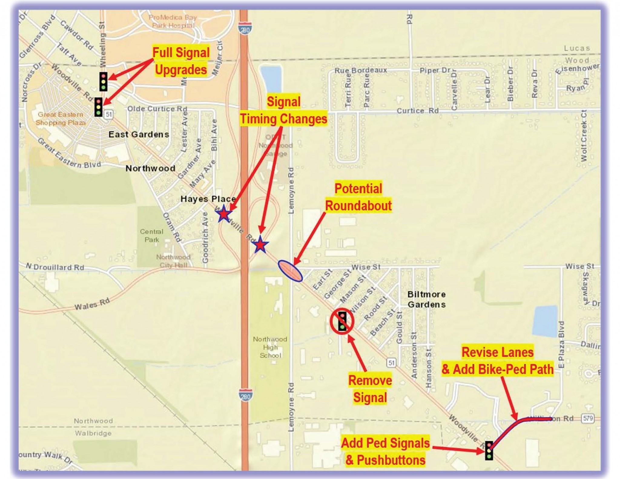 The upcoming meeting will focus on possible infrastructure improvement along Woodville Road.
