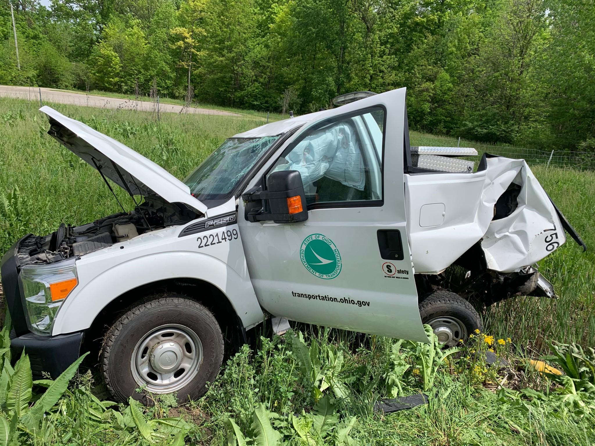 The Ohio Department of Transportation reminds motorists to move over and slow down for ODOT workers. On May 27, a semi slammed into the back of an ODOT truck in a work zone on U.S. 30 in Crawford County, injuring an ODOT worker. (ODOT photo)