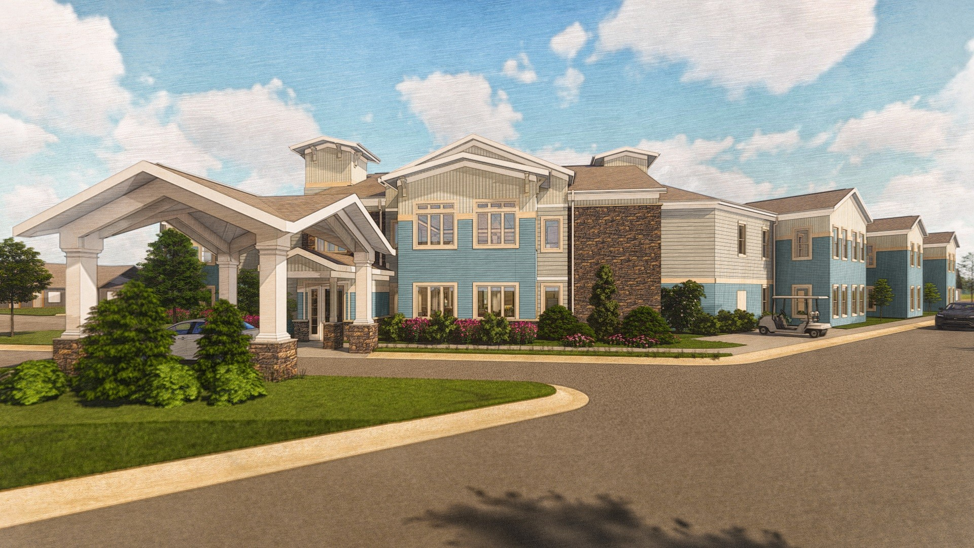 The Oakwood at Otterbein, set to open next spring at Otterbein Pemberville, will feature 64 assisted living suites, each with a kitchenette, bathroom and other amenities. (Submitted photo)