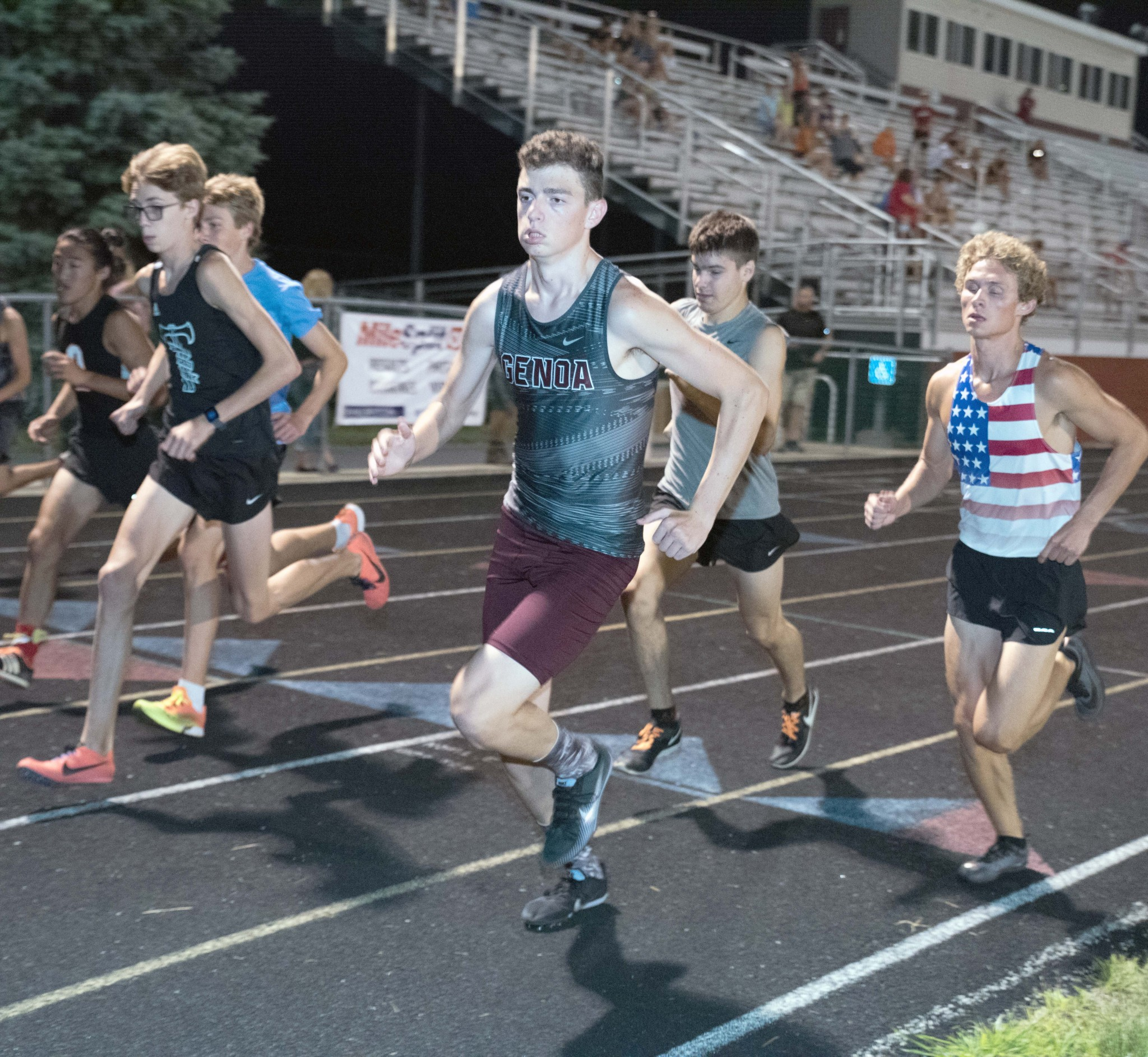Genoa senior runner Tyson Lesher is in the foreground of the first one with senior Timmy Mathews way over in the far left. (Press photo by Russ Lytle/Facebook.com/RussLytle/RHP)