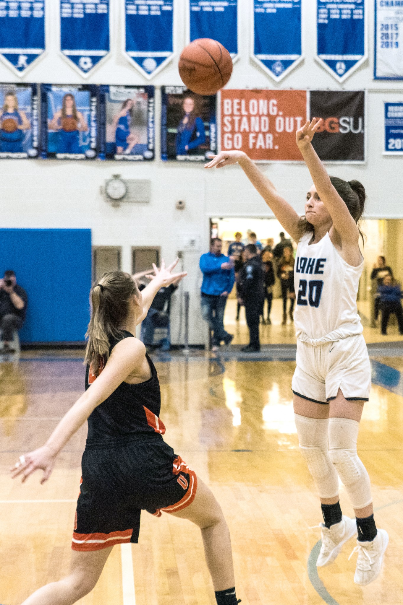 """Last year, then-Lake sophomore Delani Robinson shoots a jumper in the Flyers&#039; district tournament win over Otsego at Anthony Wayne&#039;s Dick Albaugh Athletics and Physical Education Center. (Press file photo by Russ Lytle/<a href=""""http://www.Facebook.com/RussLytle/RHP"""">www.Facebook.com/RussLytle/RHP</a>)"""