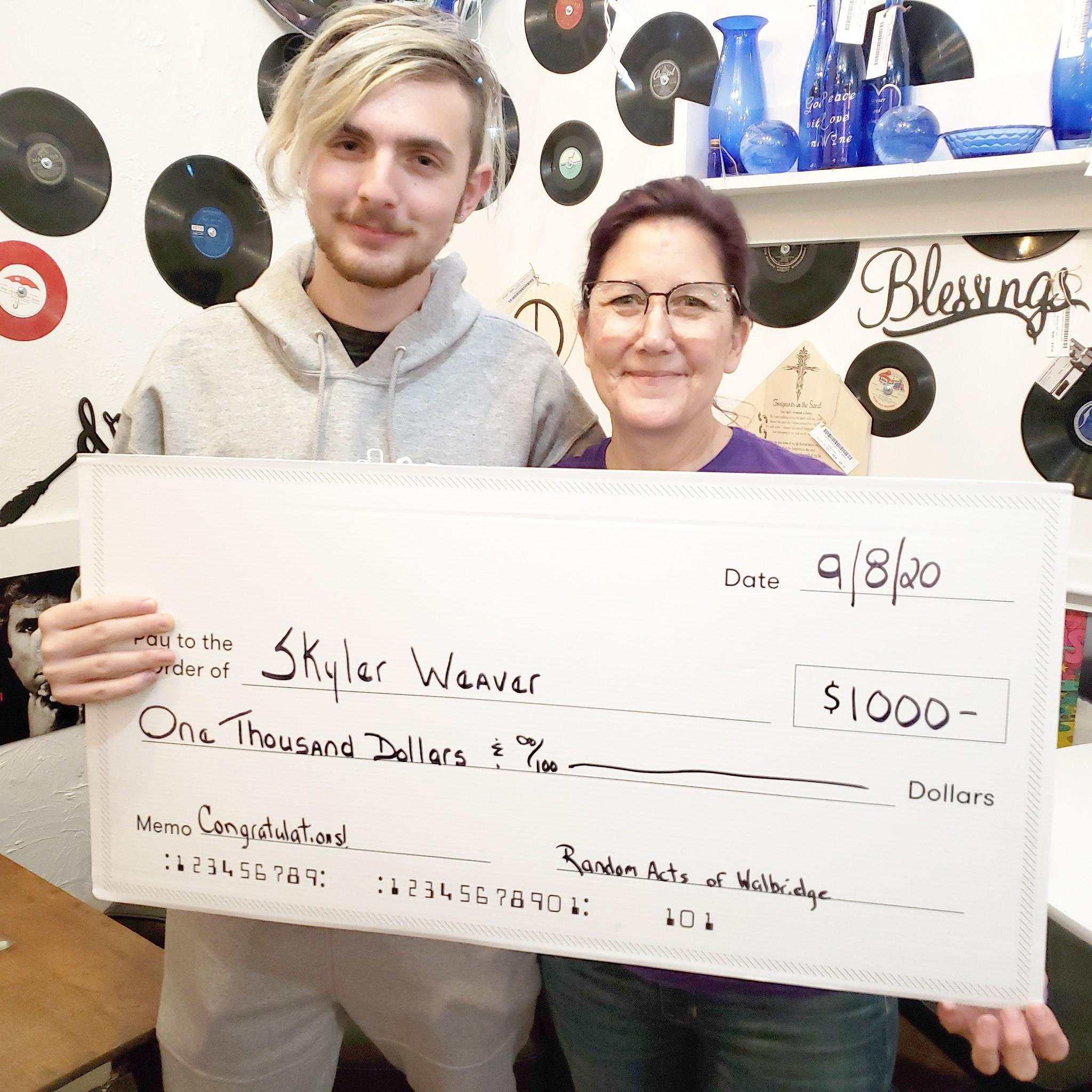 Scholarship awardee Skyler Weaver with Random Acts of Walbridge owner Caryl Stone. (Submitted photo)