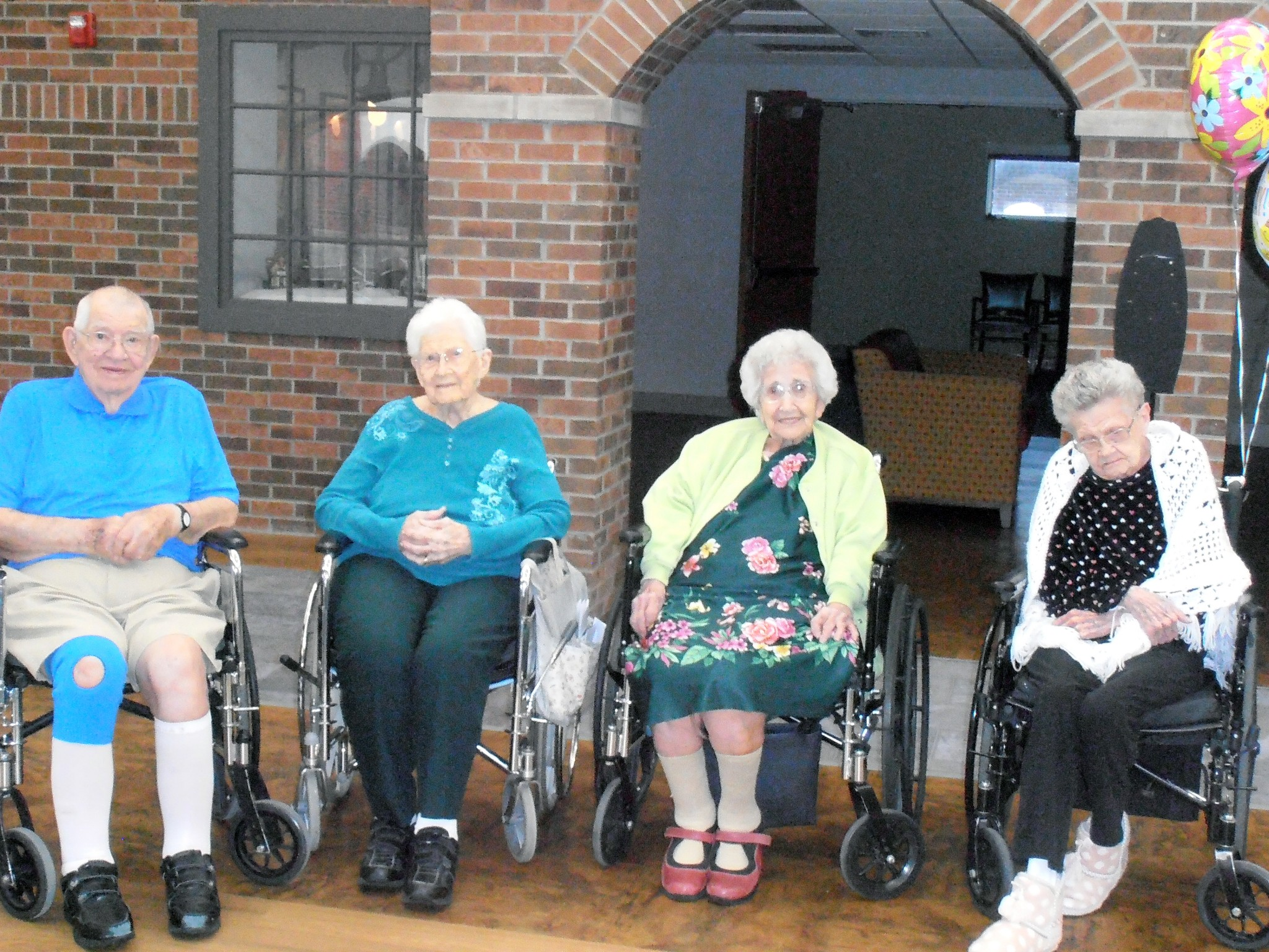 """Ottawa County Riverview Healthcare Campus in Oak Harbor, is proud to have four centenarians who call Riverview home. Pictured from left to right are Roland """"Joe"""" Josephson (101), Marguerite Gadjalski (102), Rose Burmeister (103) and Margaret Adler (100). (Submitted photo)"""
