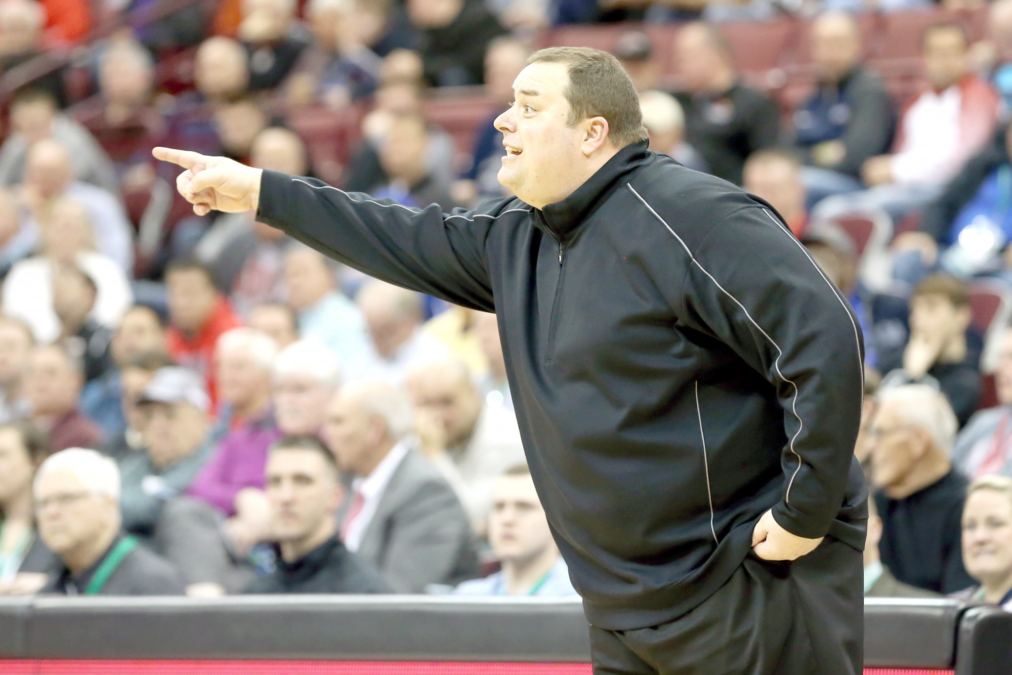 Cardinal Stritch basketball coach Jamie Kachmarik during his team's 58-53 loss in the Division III state semifinals to Cleveland Heights Lutheran East at Ohio State's Jerome Schottenstein Center. (Press file photo by Scott Grau)