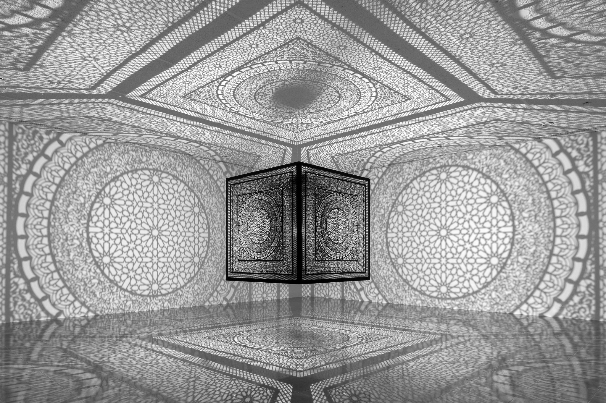 Anila Agha, Intersections, 2013, site-specific installation at Rice University Art Gallery, 2015.<br />(Photo by Nash Baker)