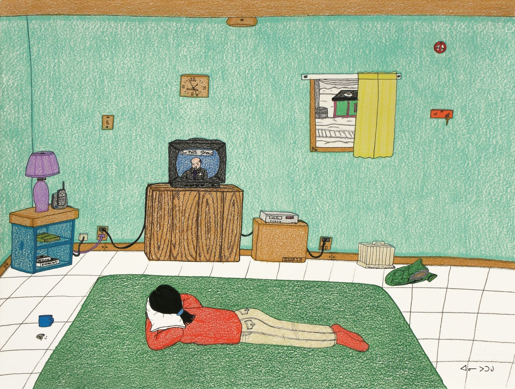 """Annie Pootoogook's """"Dr. Phil"""" Ink and pencil crayon on paper is among the works featured in Toledo Museum of Art's upcoming exhibition, """"Telling Stories: Resilience and Struggle in Contemporary Narrative Drawing."""" (Photo courtesy of the Toledo Museum of Art)"""