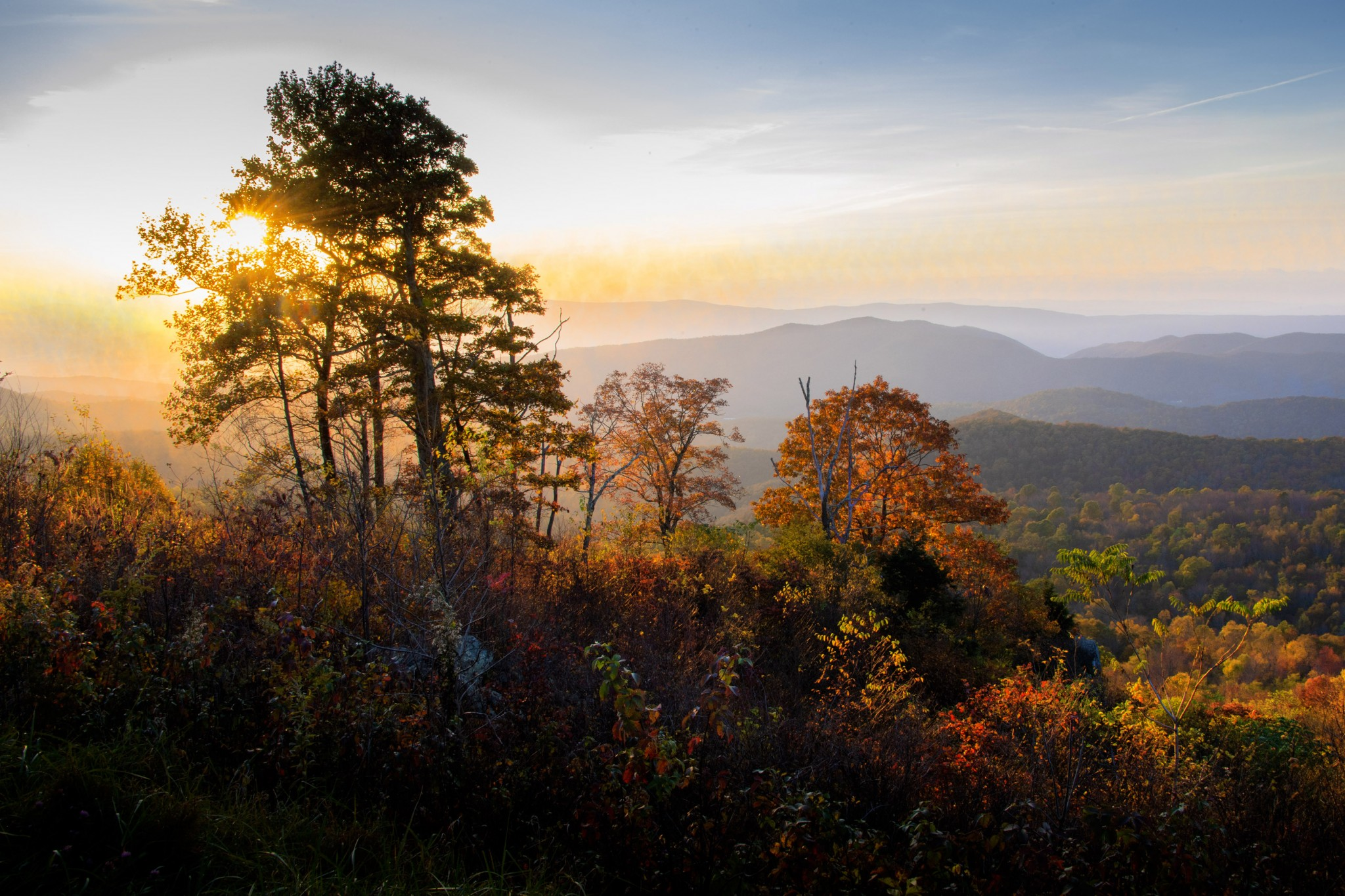 The view from Skyline Drive is always beautiful, and in the fall it can be stunning. This image was taken at sunset from one of the many overlooks off the 105-mile-long drive. (Photo by Art Weber)