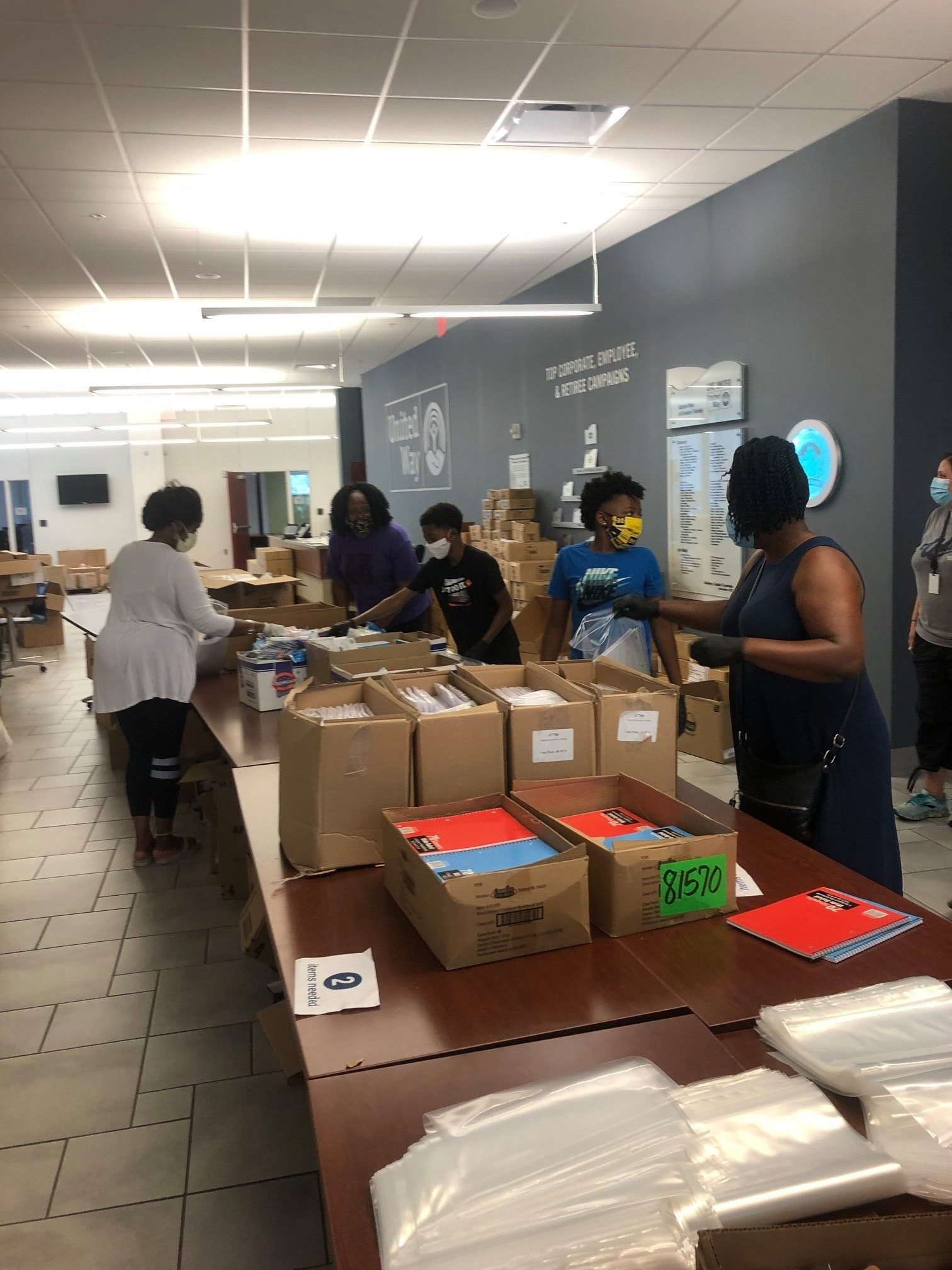 Representatives from Toledo Public School gathered 2,250 school supply kits (188 boxes) on July 31 at United Way of Greater Toledo's downtown office, (Submitted photo)