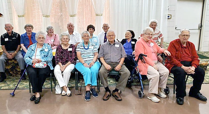 Members of the Class of 1949 celebrating their 70th reunion included (from left) front row: Virginia Wohlmuth Shelt, Dorothy Thomson Munding, Judy Lane Bee, Don Firsdon, Jane Palmer Yenrick and Bob Yenrick.  Back row: Arnie Steedman, Margaret Young Locker, Joette Eells Scott, Dick Hodulik, Natalie Grosjean Naumann, Ray Spencer, Marilyn McEwen Reeves and Evanka Dimiboff. Bob Yenrick started the Golden Luncheon 19 years ago. (Submitted photo)