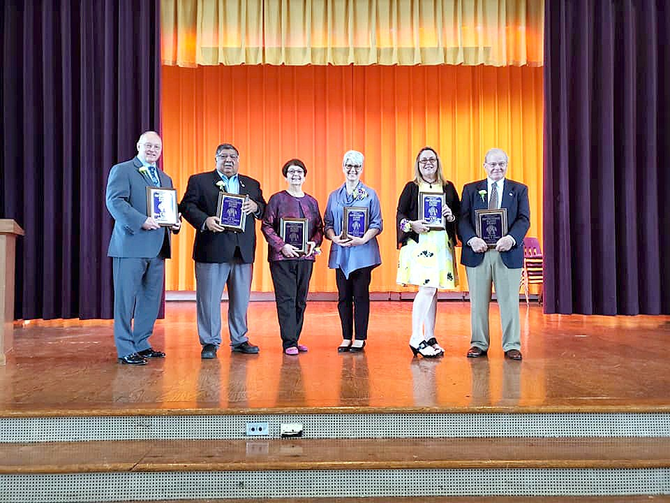 Harry Cummins, Robert Vasquez, Jean Steinhurst Cutcher, Carol Horton Sicha, Sheila Hodge (accepting on behalf of her late mother, Beverly Tittle Baker), and Joseph O'Leary. (Submitted photo)