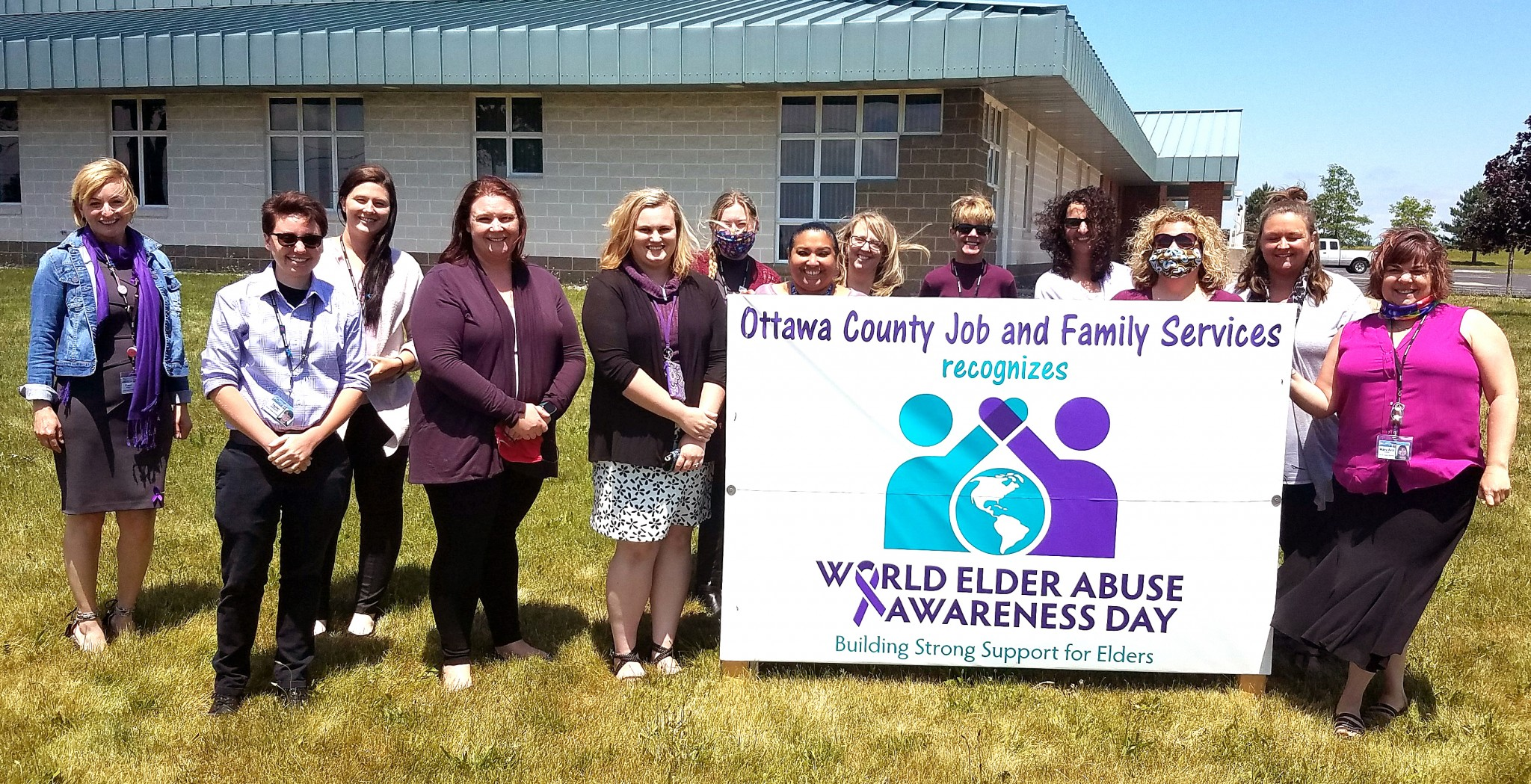 Ottawa County Job and Family Services staff donned purple June 15 in honor of World Elder Abuse Awareness Day.  (Submitted photo)