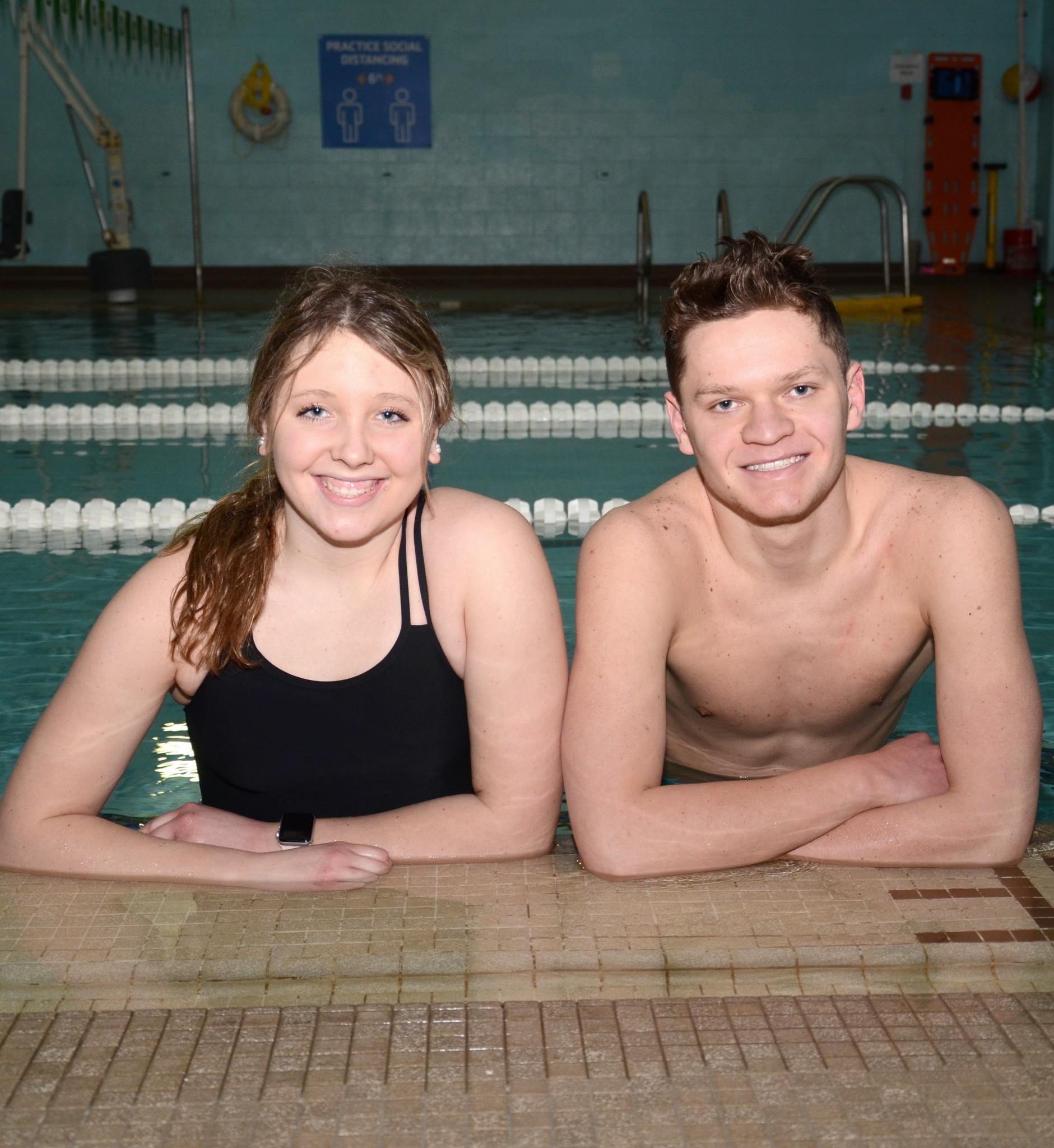 Clay swimmers Joslyn Jurski and Abram Hagedorn. (Press photo by Ken Grosjean)