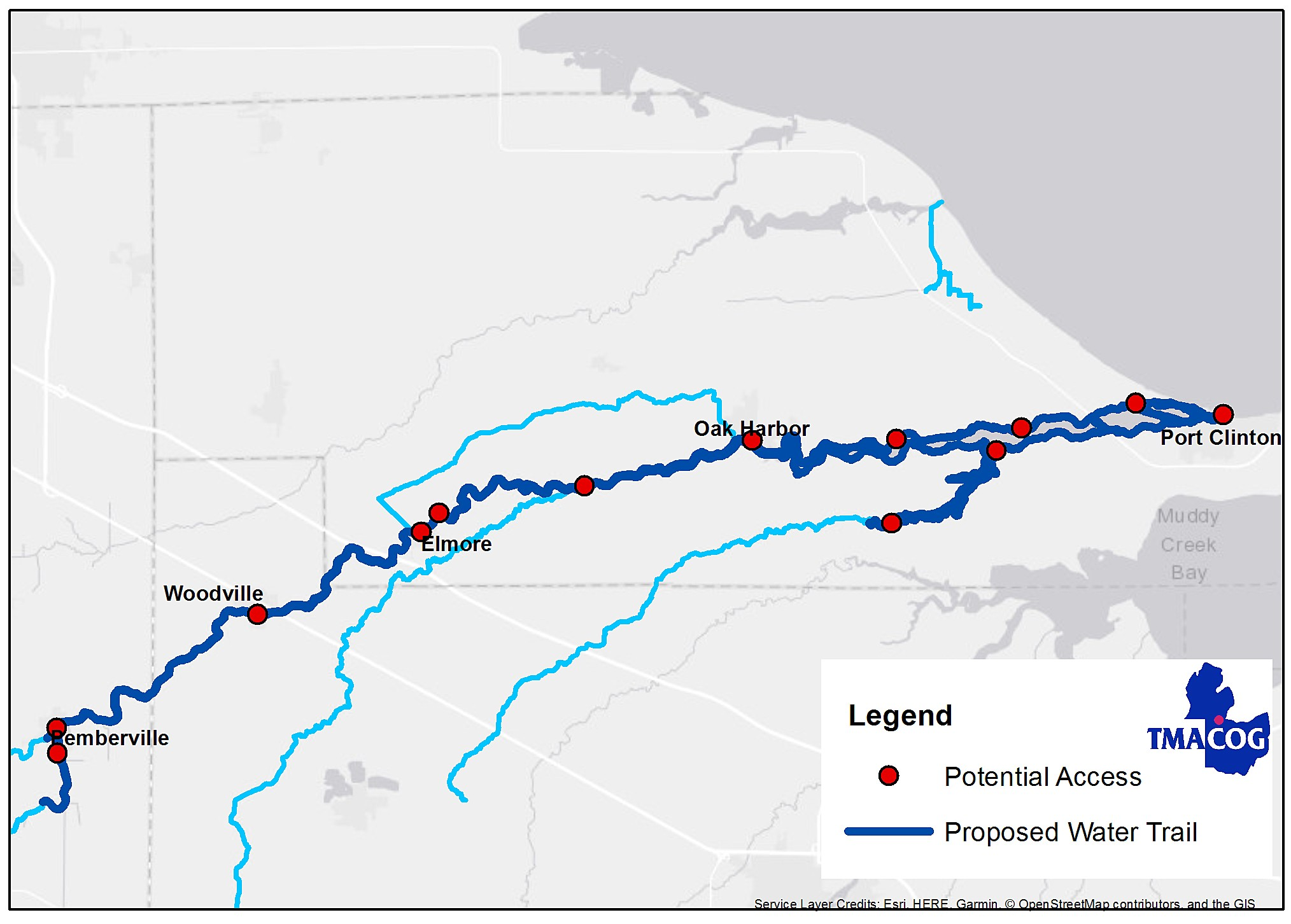 Chart shows proposed river trail.