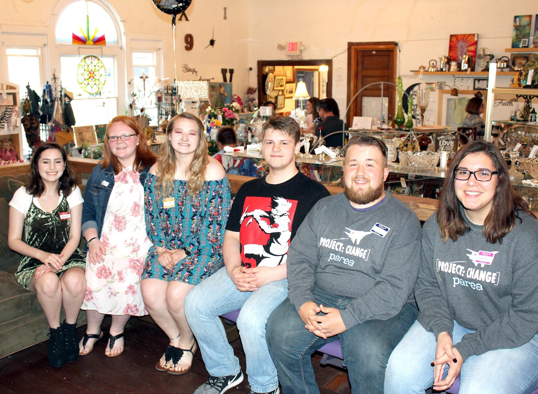 """Jaelyn McNamee, Morgan Kuhlman, Megan Wozniak, Mason McNally, Dakotah Bunn and Heather White were among students recognized May 29 at Random Acts of Walbridge. Bunn received a $1,000 scholarship from the Walbridge business for being """"a good student, good friend and good citizen."""" (Submitted photo)"""