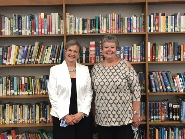 Dr. Susan Hany (left) and Sally Stone, 2021 retirees from Benton-Carroll-Salem School District, were honored at the May 25 board of education meeting. Retiree Becky Weidner, not pictured, was also honored. (Submitted photo)