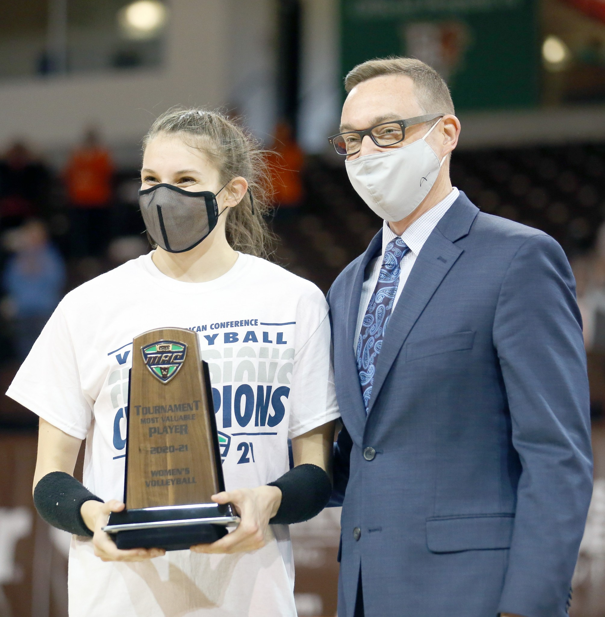 Bowling Green State University volleyball player Katelyn Meyer receiving her Mid-American Conference MVP Award. (File photo courtesy Kyle Daniel Edmond/BGSU athletic communications)