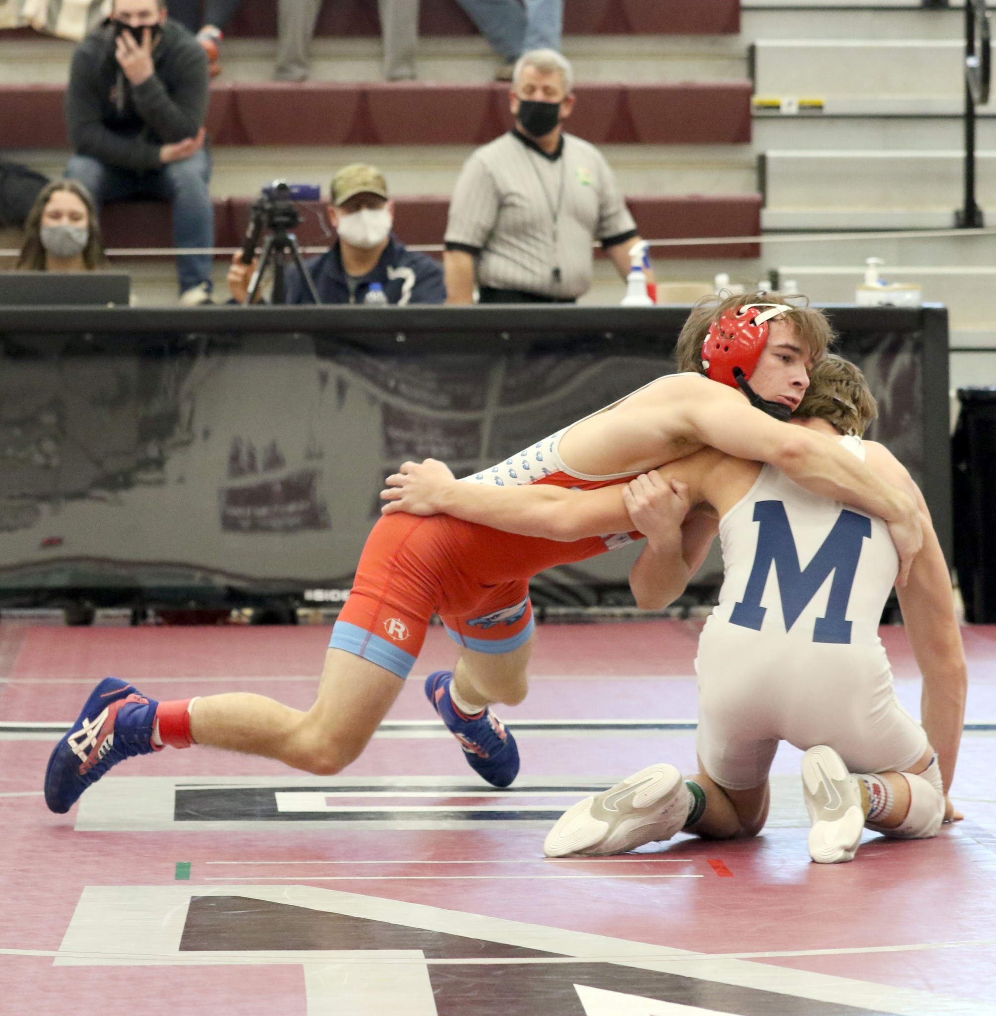 Eastwood senior Brandon Hahn won the Division III district 120-pound championship at Rossford High School. Hahn scored a 7-3 decision over Sandusky St. Mary's Riley Prosser in the title match to advance to state, where he finished second. (Photo by Doug Hise)