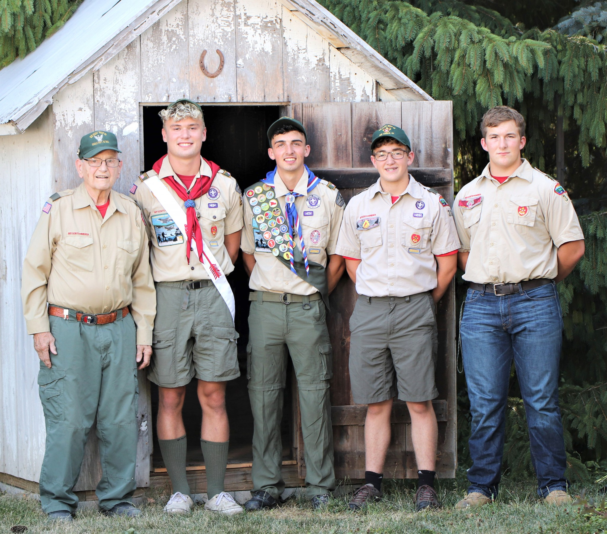 From left: Scoutmaster Roger Carpenter, Kobe Fletcher and fellow Scouts Cameron Crandall, Nathan Buderer, and Egan Bolander. (Submitted photo)