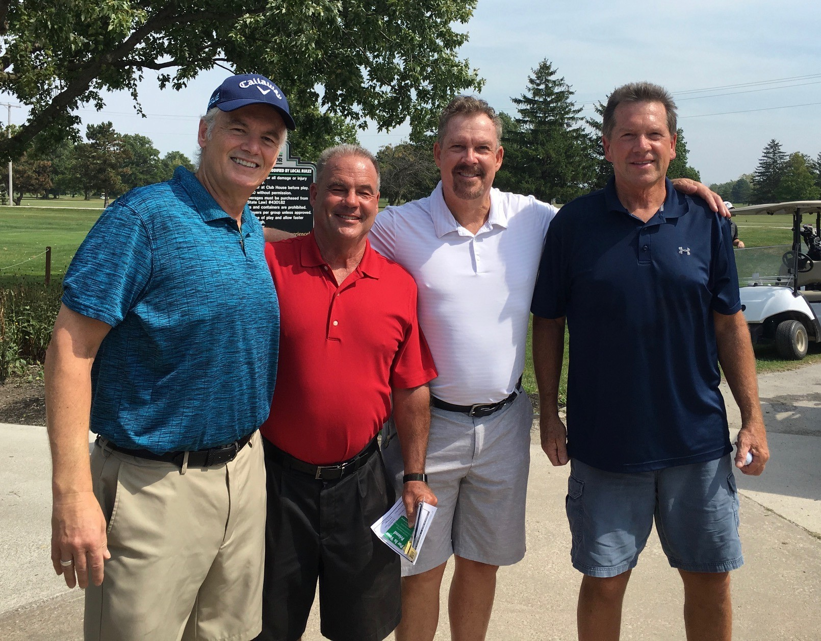 Pictured at the 21st Annual GenoaBank Golf Outing are Cumulus Radio Host Celebrities (from left) Denny Schaffer, John Guitteau, Timmy Morrison and Chuck O'Shea. (Submitted photo)