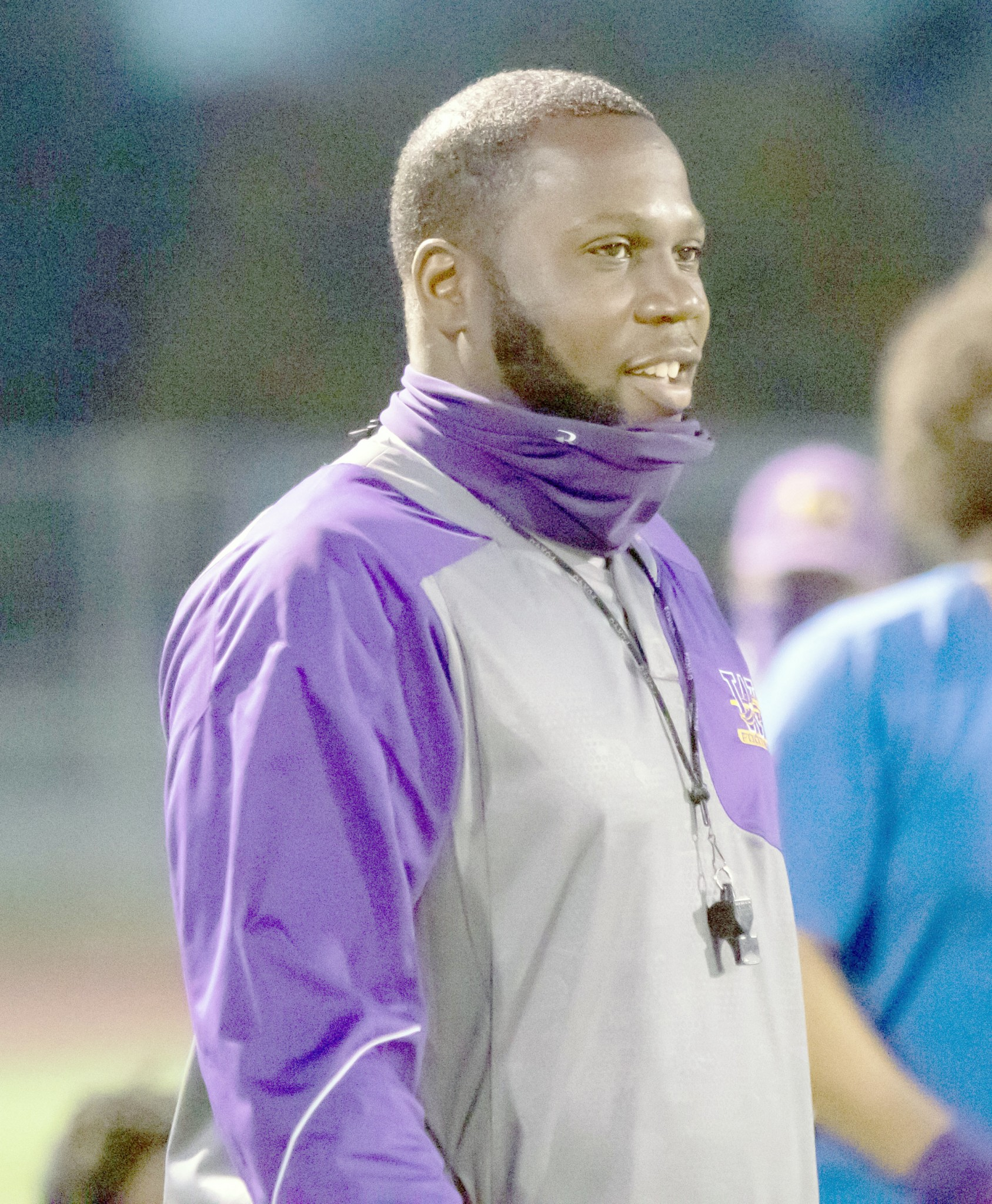 """Waite coach Aaron Peacock surveys the playing field during a City League game at Mollenkopf Stadium. (Press photo by Harold Hamilton/<a href=""""http://www.HEHphotos.smugmug.com"""">www.HEHphotos.smugmug.com</a>)"""
