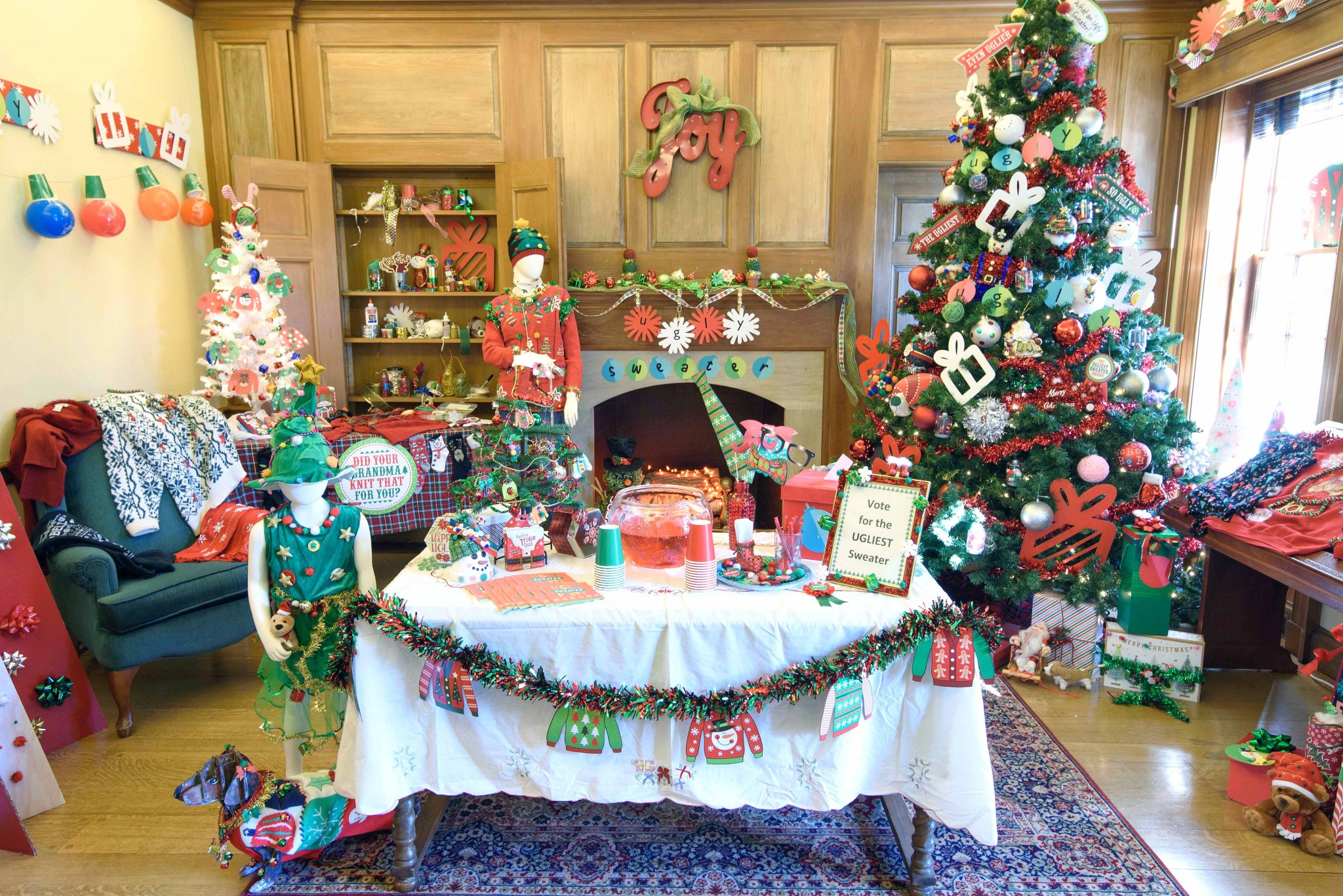 """The gentleman's study at the Manor House at Wildwood Preserve, decorated in the theme, """"A Wacky Tacky Christmas,"""" by Meg Buck and Cindy Brewer. (Photo courtesy of Metroparks Toledo)"""