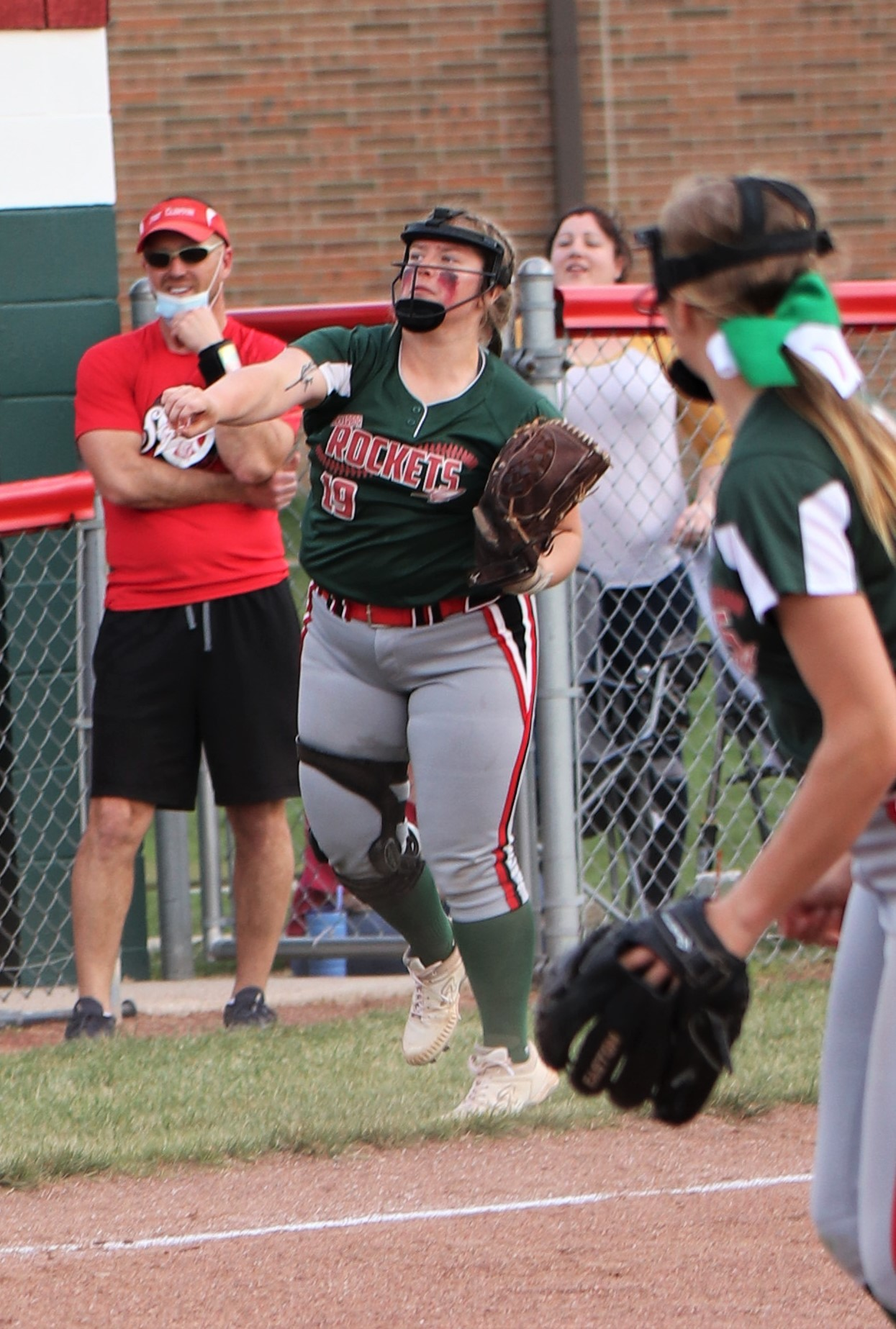 Oak Harbor junior catcher Tori Smith behind the plate. (Photo by Laura Bolander)