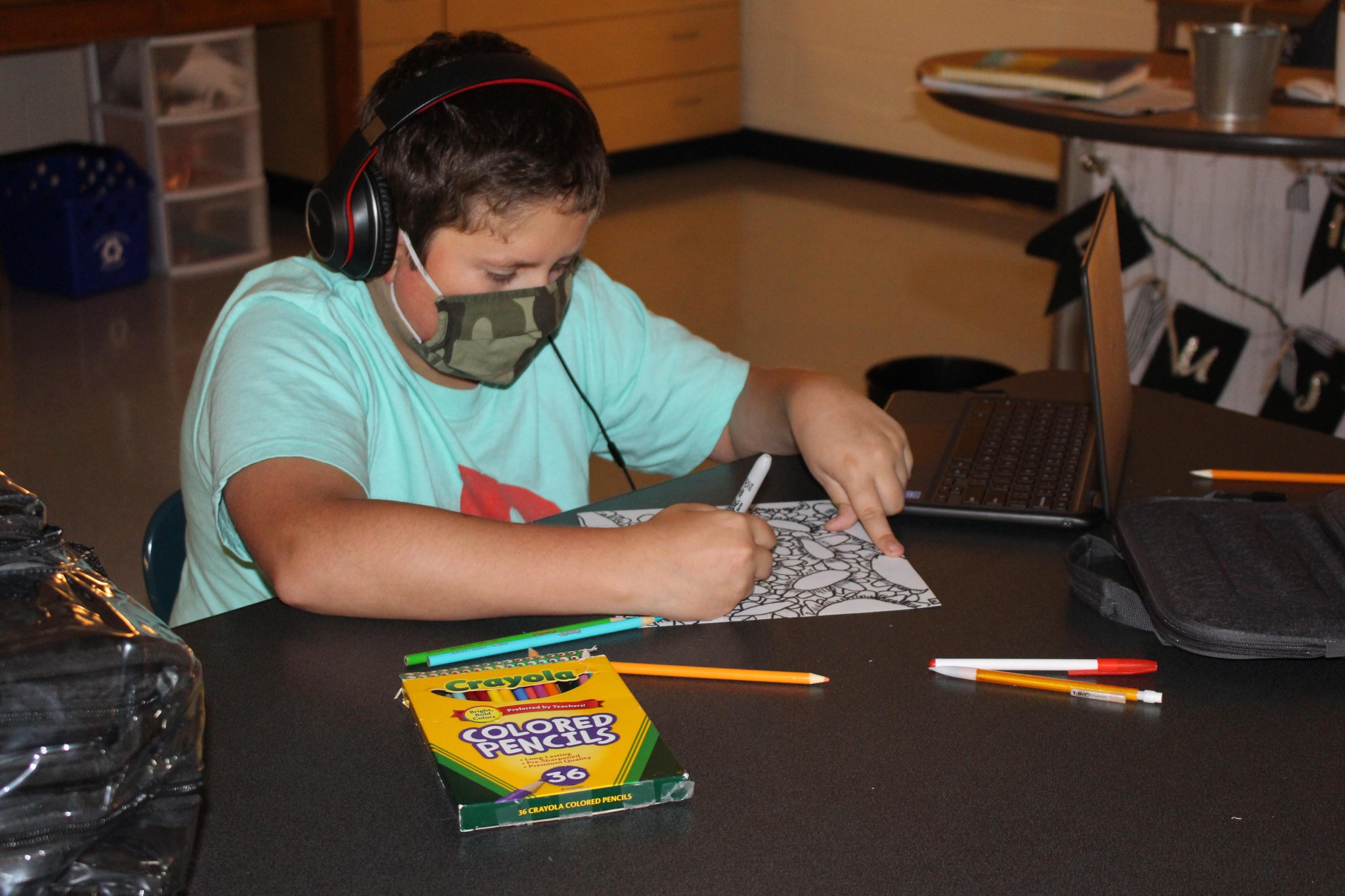 Lake sixth-grader Josh Cherry creating his  Analogous Flowers in art class. (Submitted photo)