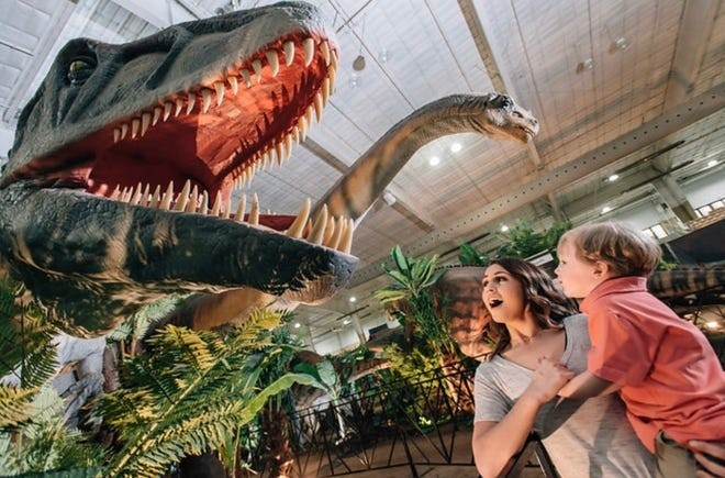 Jurassic Quest, which offers an as-close-as-you-can-get look at the giants that ruled the Earth and sea millions of years ago, will roar into the Toledo's SeaGate Convention Centre Oct. 22-24. (Photo courtesy of Jurassic Quest)