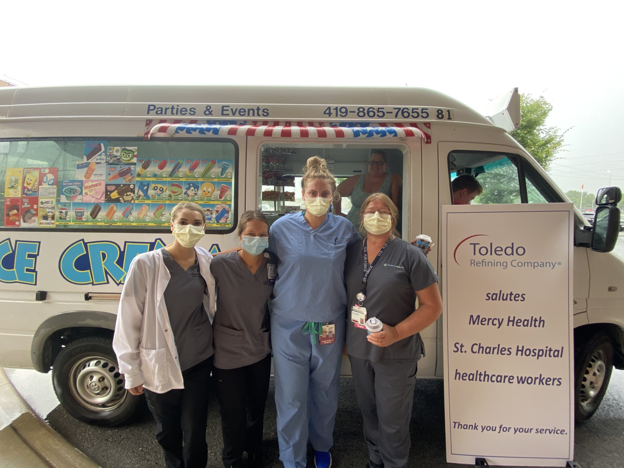Toledo Refining Company honored Mercy Health – St. Charles Hospital health care workers with icy delights July 23. Toledo Refining also delivered another surprise treat – a $5,000 donation to the hospital's nurses' continuing education fund. (Submitted photo)
