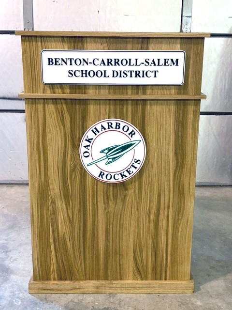 Podium built by Bill Scherf for Benton-Carroll-Salem Schools using wood milled from an old Oak Harbor oak tree. (Submitted photo)