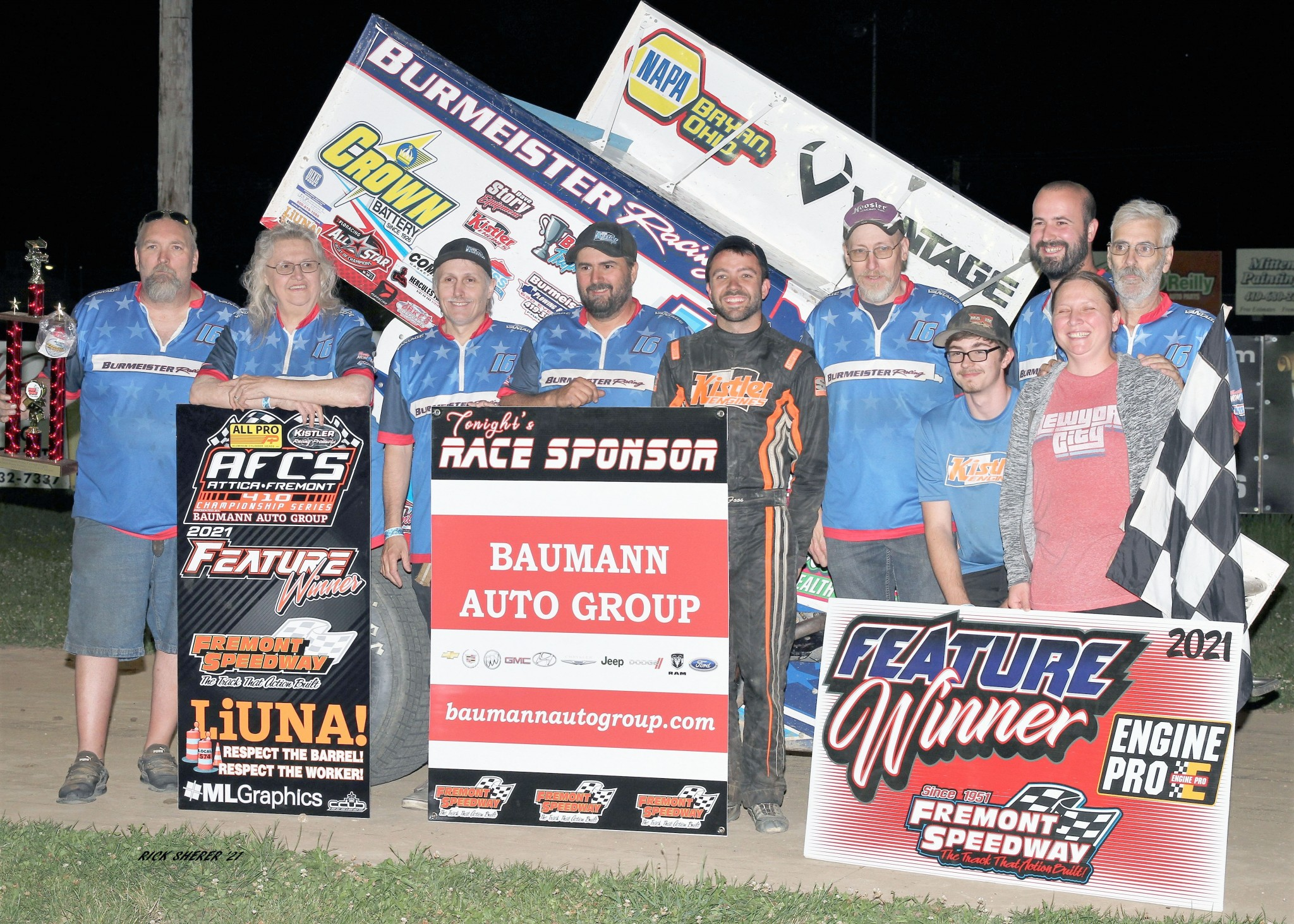 D.J.Foos celebrates with Burmeister Racing crew and family. (Photo by Rick Sherer)