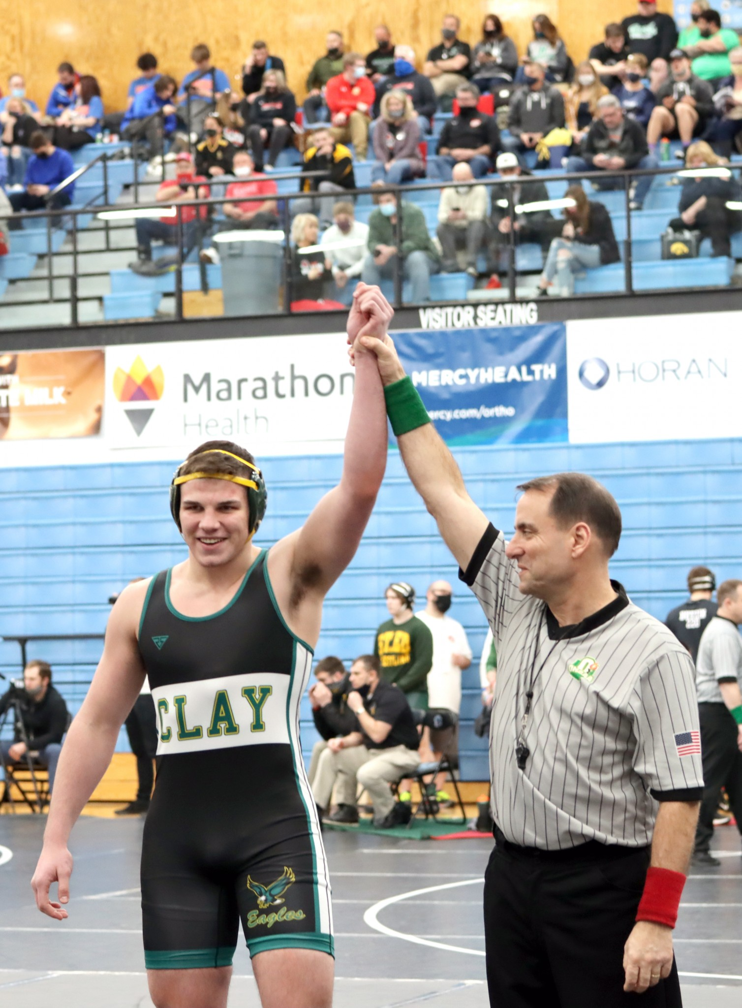At the Division I state meet at Hilliard Darby High School, Clay junior 220-pound wrestler Ty Cobb finished eighth despite an arm injury. (Photo by Rich Wagner)