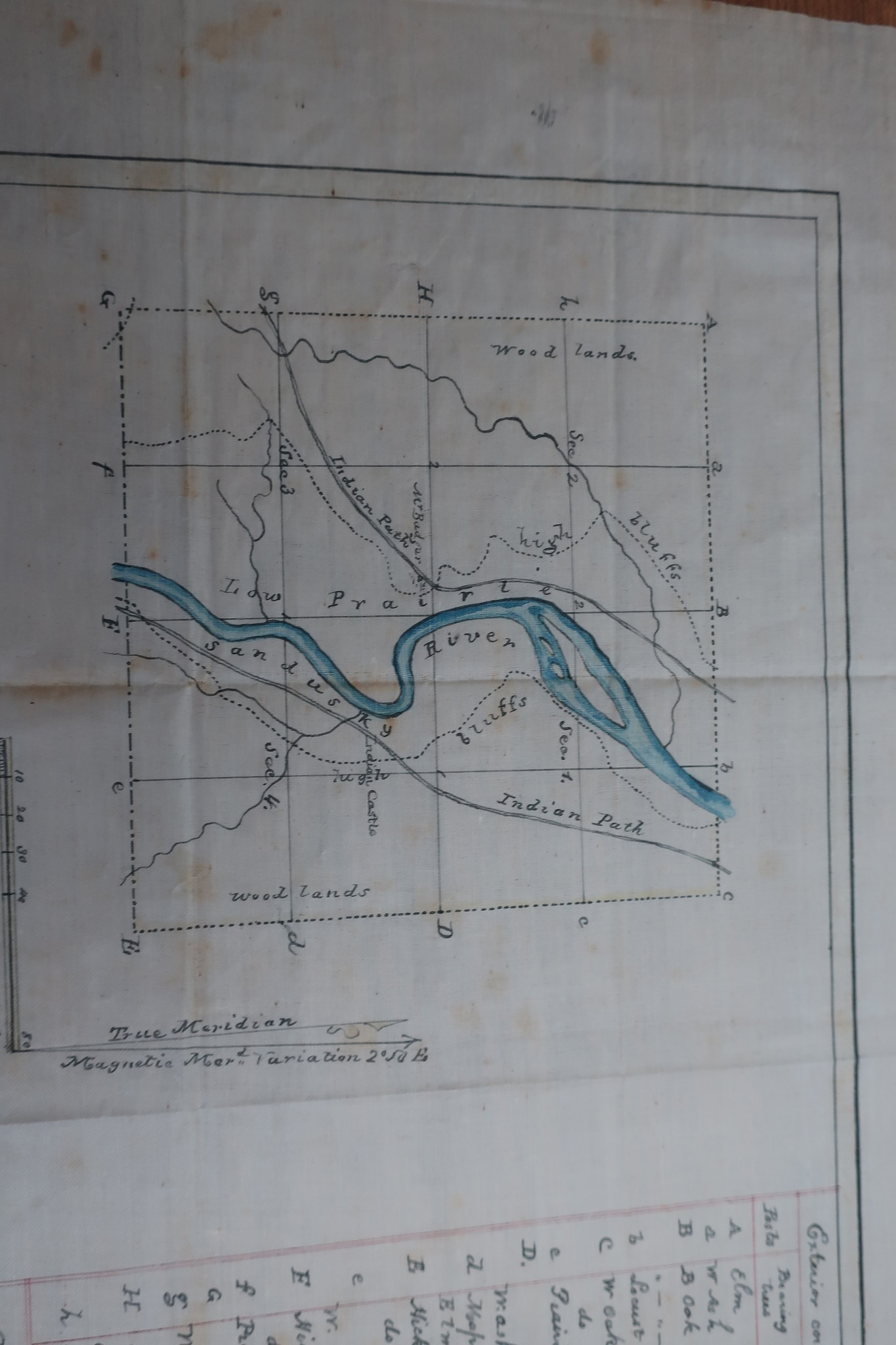 This historic map shows the Sandusky River in the early days of settlement. It is made with paint on fabric. (Submitted photo)
