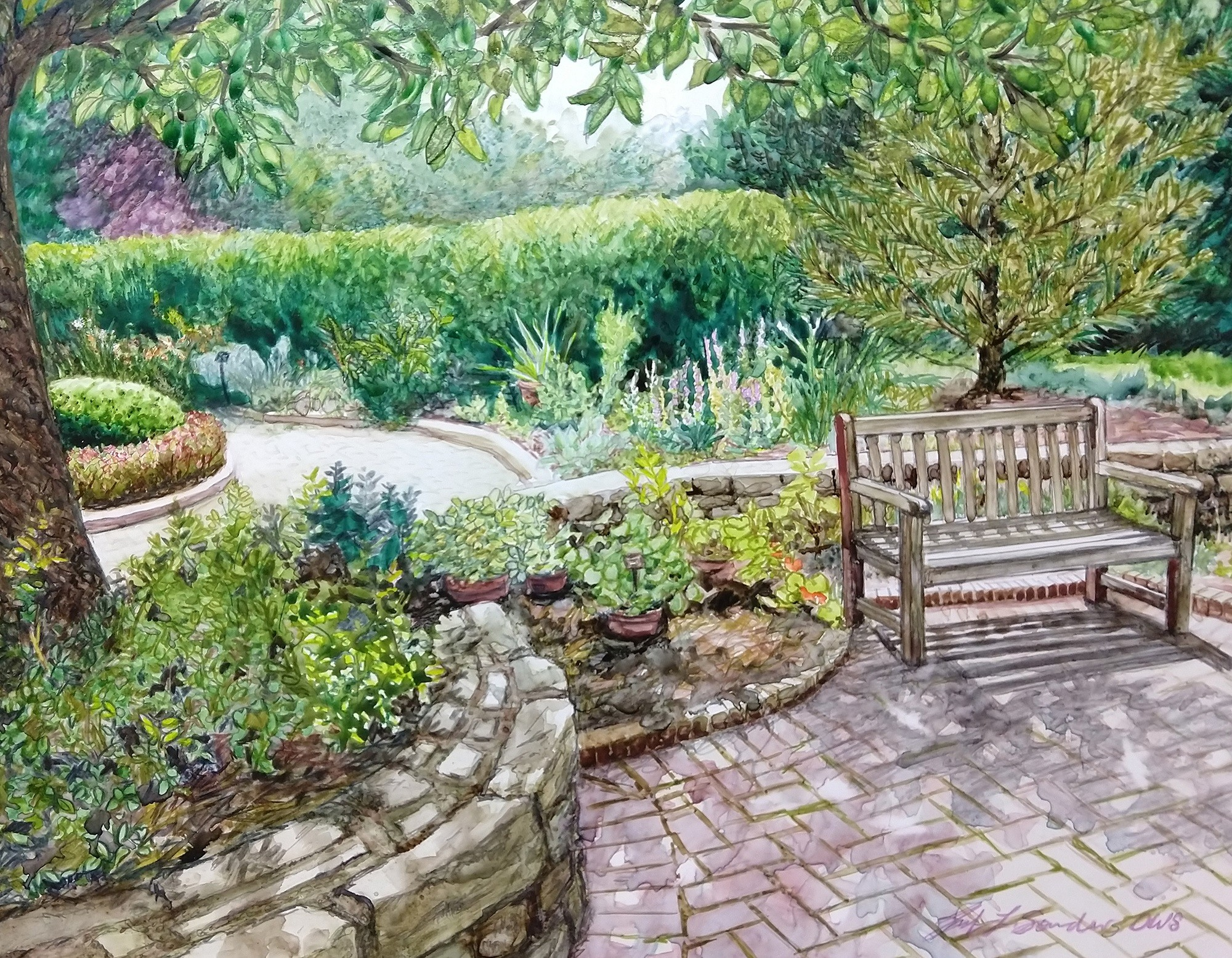 """Jennifer Sowders' watercolor, """"Herb Gardens,"""" will be among the pieces featured in """"In the Gardens,"""" a Toledo Federation of Art Societies Members' Exclusive Juried Exhibition, which will run April 27-June 30 at Schedel Arboretum & Gardens in Elmore. (Submitted photo)"""