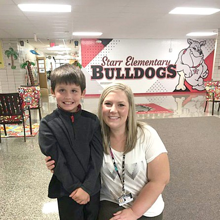 """Starr Elementary School teacher Sarah Garand says her """"mom instincts"""" kicked in when she realized her student Matthew Brown was choking on a mint. Garand performed the Heimlich maneuver, dislodging the candy. (Submitted photo)"""