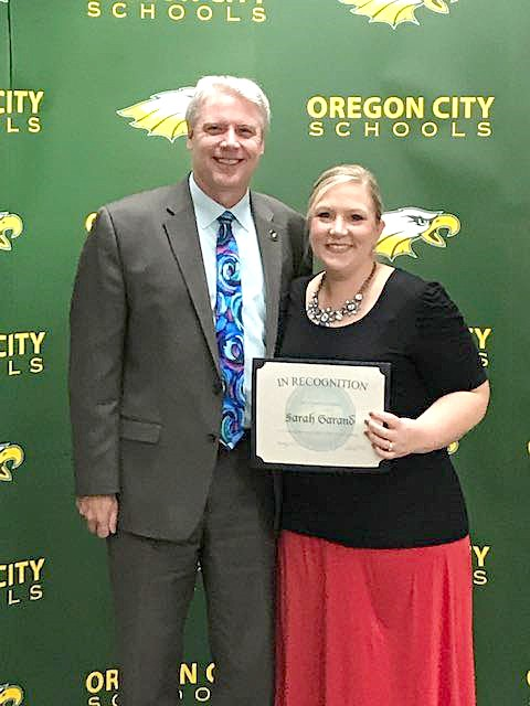 Starr Elementary School third-grade teacher Sarah Garand with Oregon City Schools Superintendent Hal Gregory (Submitted photo)