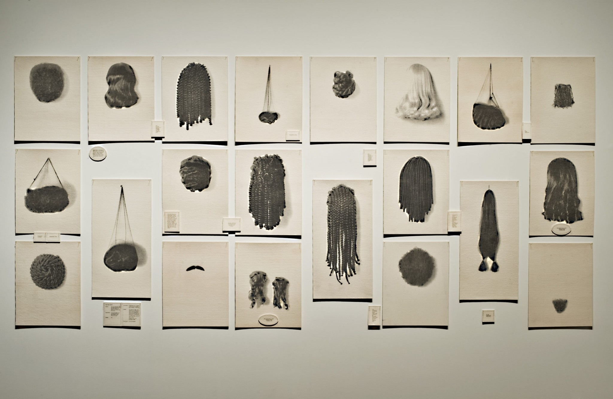 """Lorna Simpson's, """"Wigs,"""" (1994) presents an array of vacant wigs and hairpieces, from thick braids and weaves to smooth blond locks. The piece is featured in the exhibit, """"PICTURE ID: Contemporary African American Works on Paper,"""" opening at the Toledo Museum of Art on Aug. 4. (Photo courtesy of the Toledo Museum of Art)"""