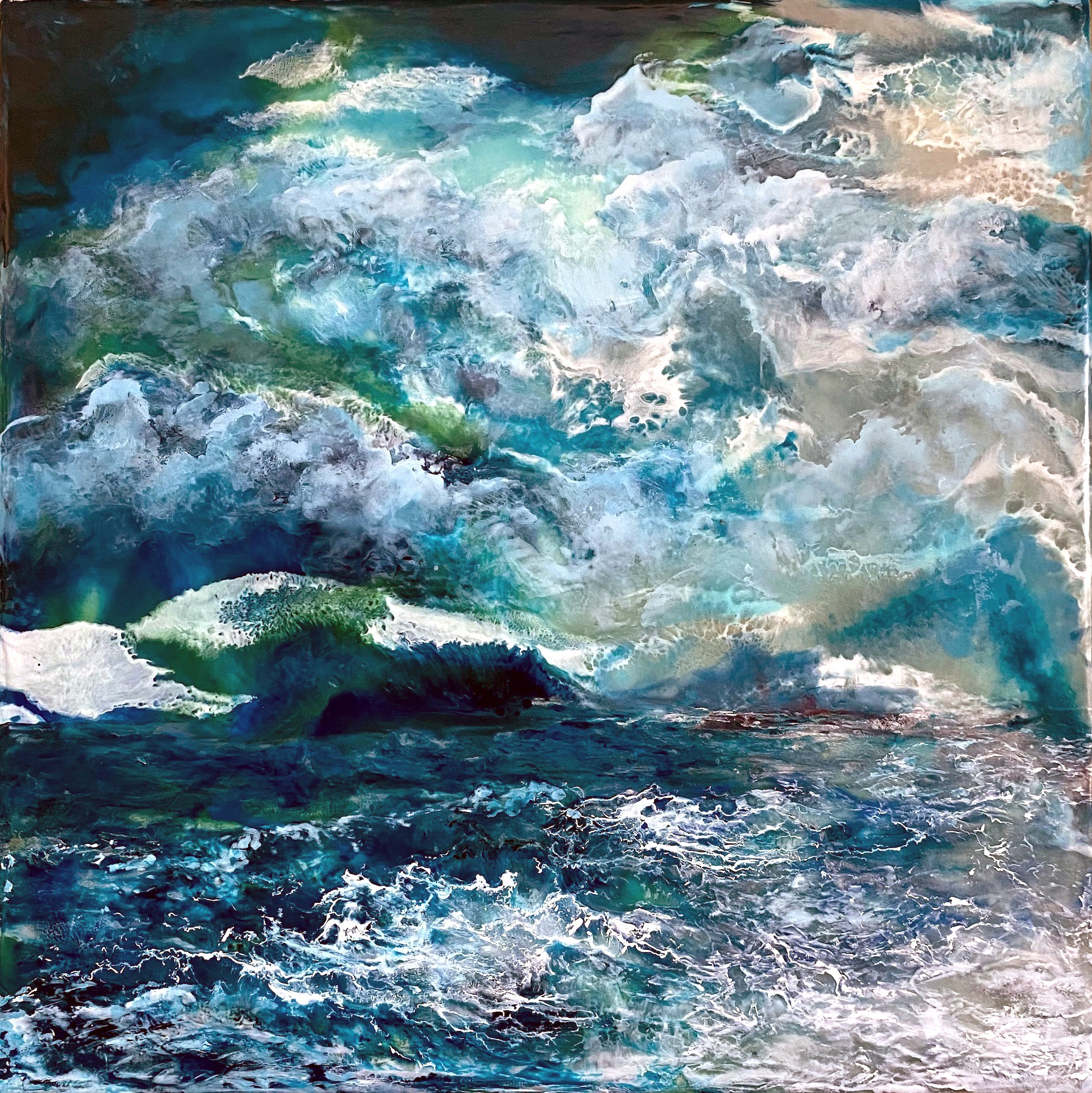 "Christine Deemer's encaustic and mixed media work, ""Tsunami,"" was chosen for first-place honors in the Toledo Federation of Art Societies Members' Exclusive Juried Exhibition, ""In the Garden"" which will be on exhibit April 27-June 30 at Schedel Arboretum & Gardens in Elmore. (Submitted photo)"