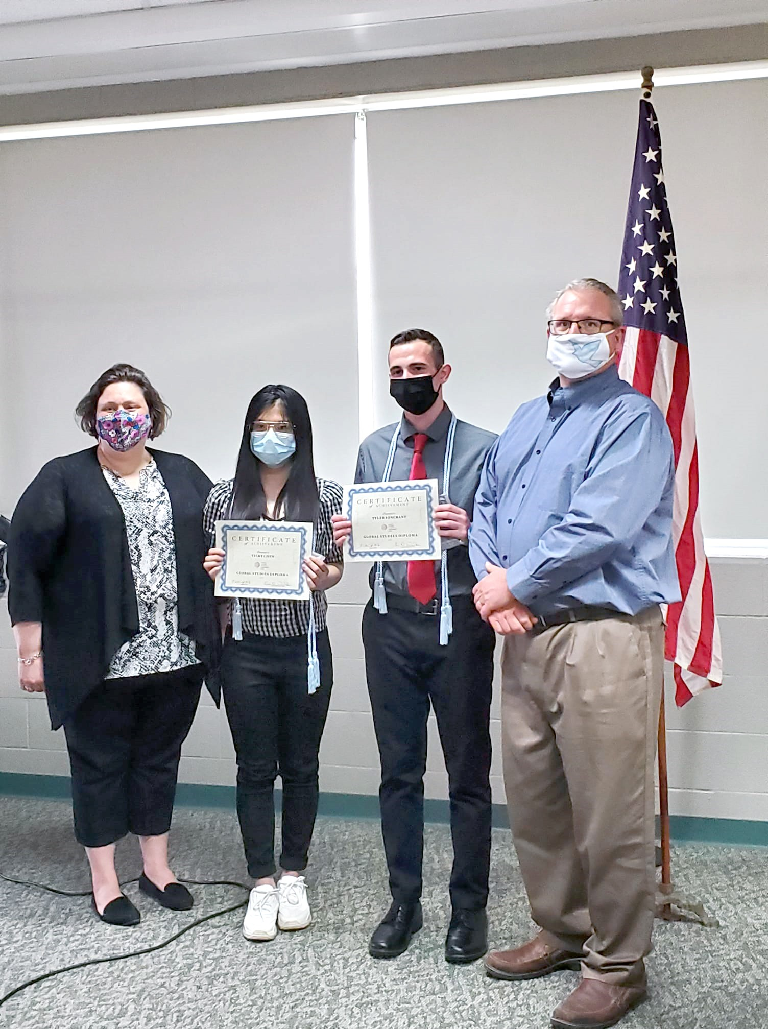From left: Clay High School Global Studies Diploma advisor Erin Weiker; Clay Global Studies Diploma recipients Vicky Chen and Tyler Soncrant and Bill Hilt, President at World Affairs Council of Northwest Ohio. (Submitted photo by Val Virag)