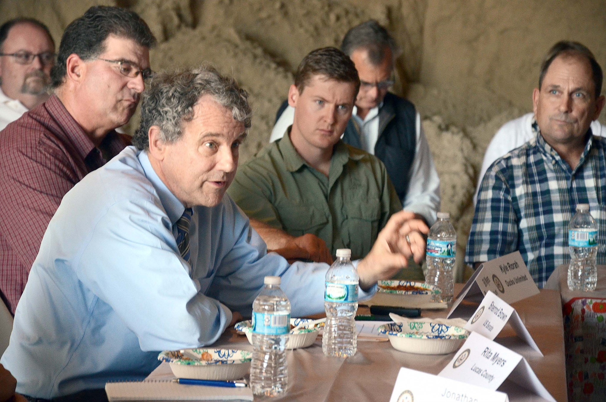 In October 2017, U.S. Senator Sherrod Brown (D-OH) spoke at the Farm Bill Roundtable held at Myers Farms, Oregon. Directly behind him are Bill Myers, left, and Kyle Rorah, Ducks Unlimited. (Press file photo by Ken Grosjean)